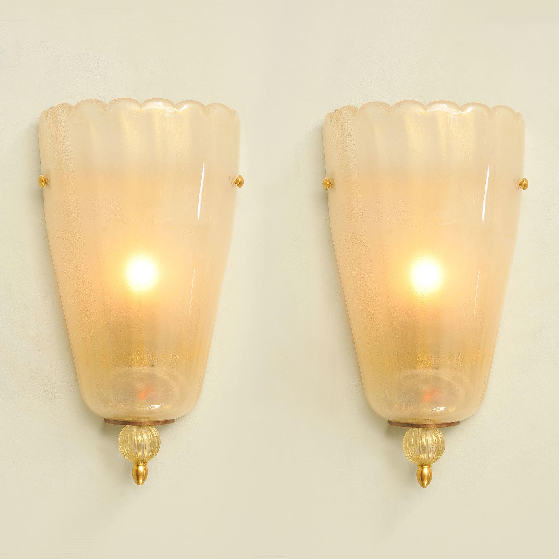 Pair Italian Murano Wall Lights 01