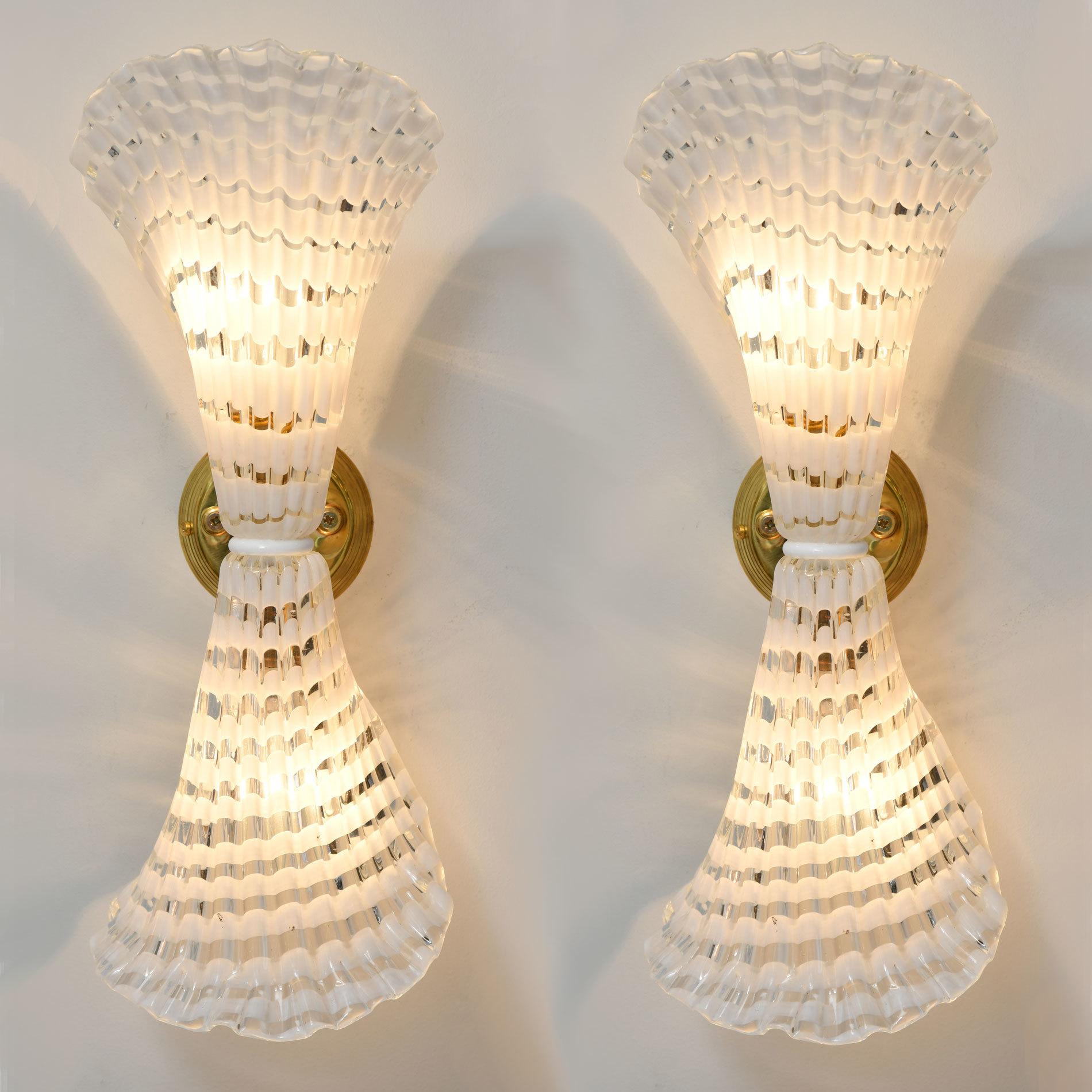 Pair Murano Glass Striped Wall Lights 01