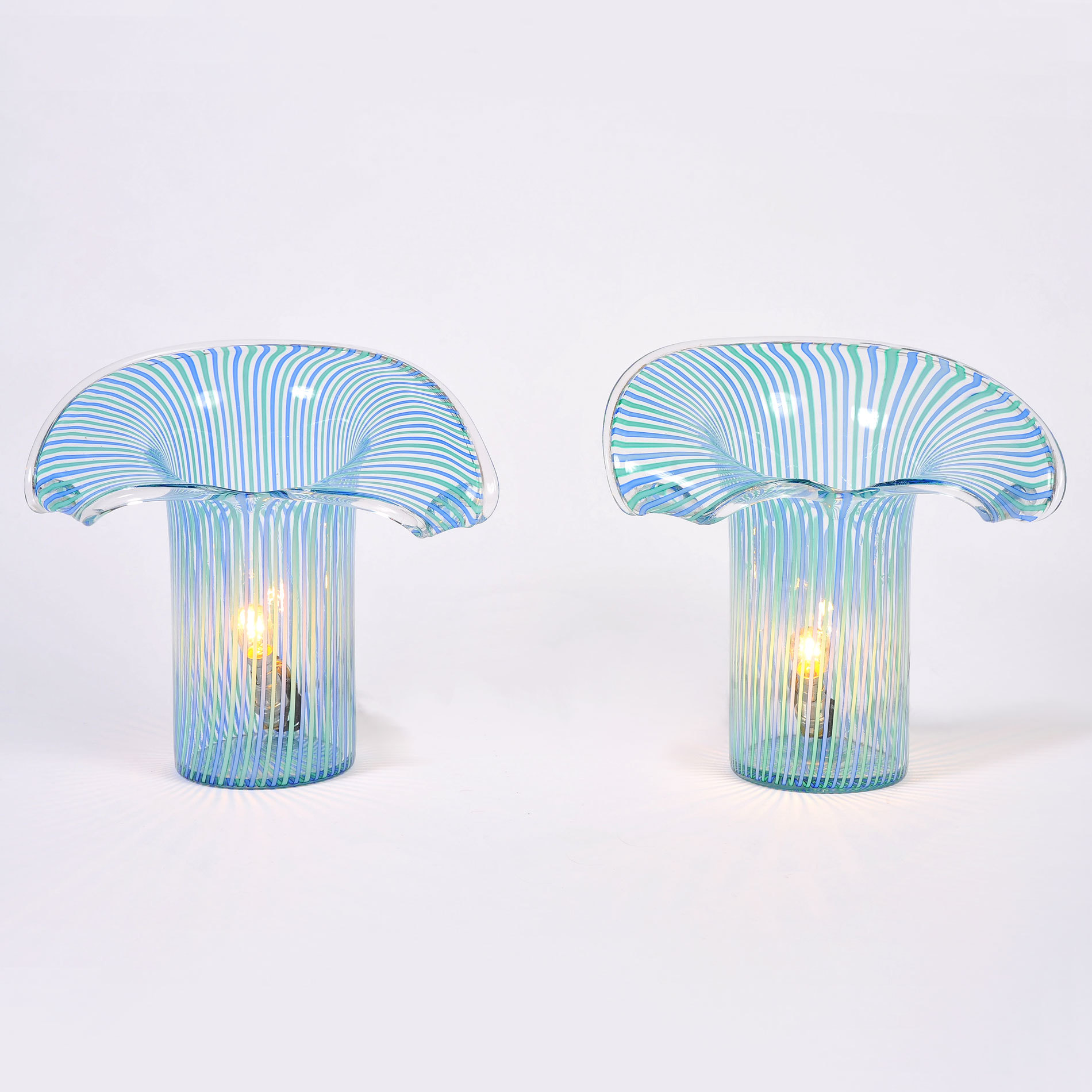 Pair Organic Glass Lamps 01