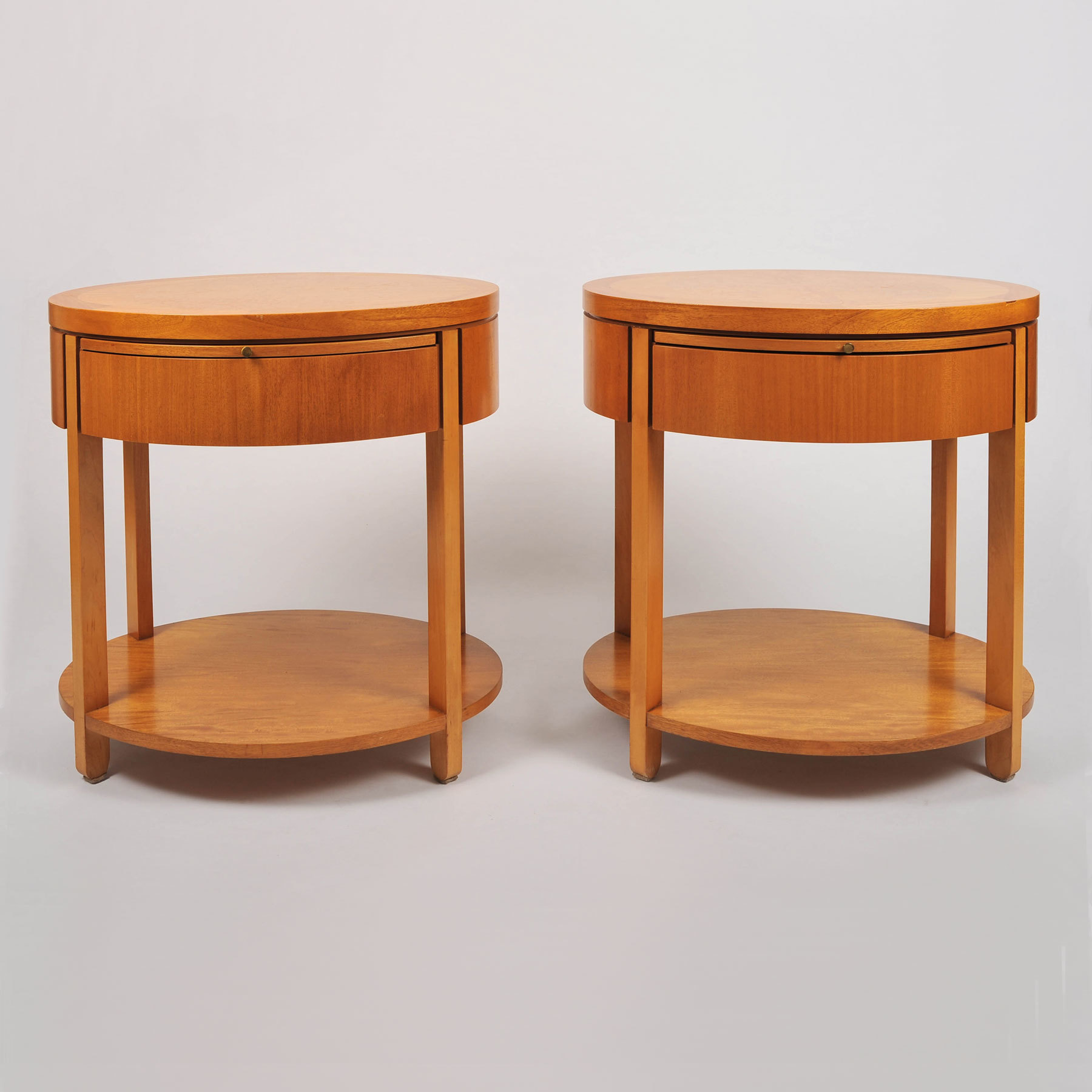 The image for Pair Oval Bedside Tables 001 Vw