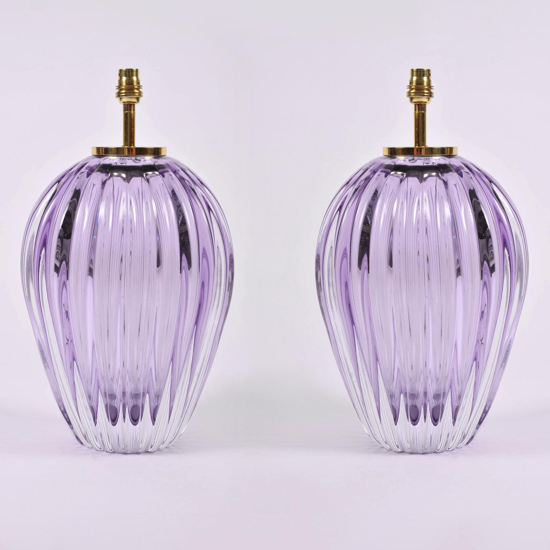 Pair Purple Vase Lamps 02