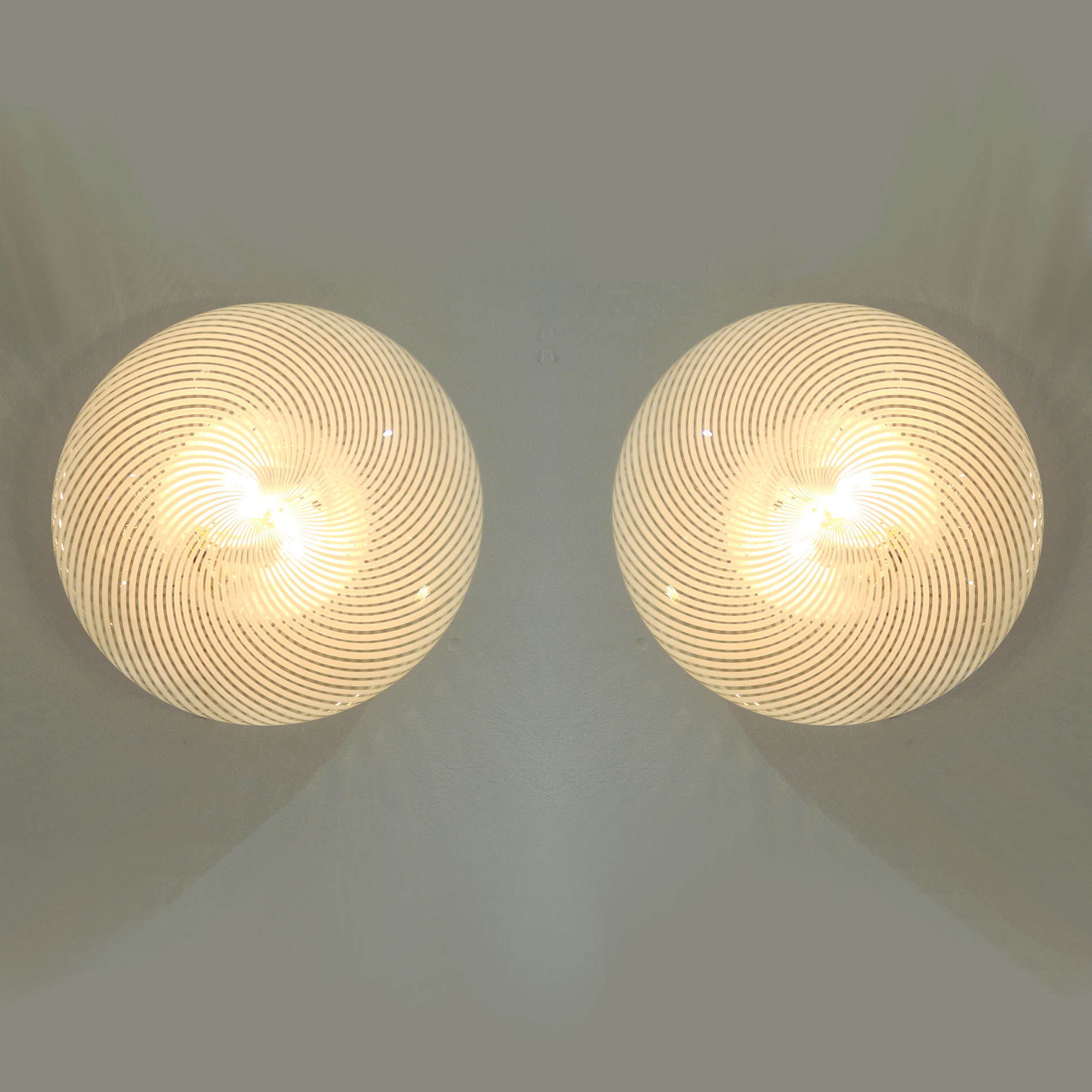Pair Swirl Circular Wall Lights 01