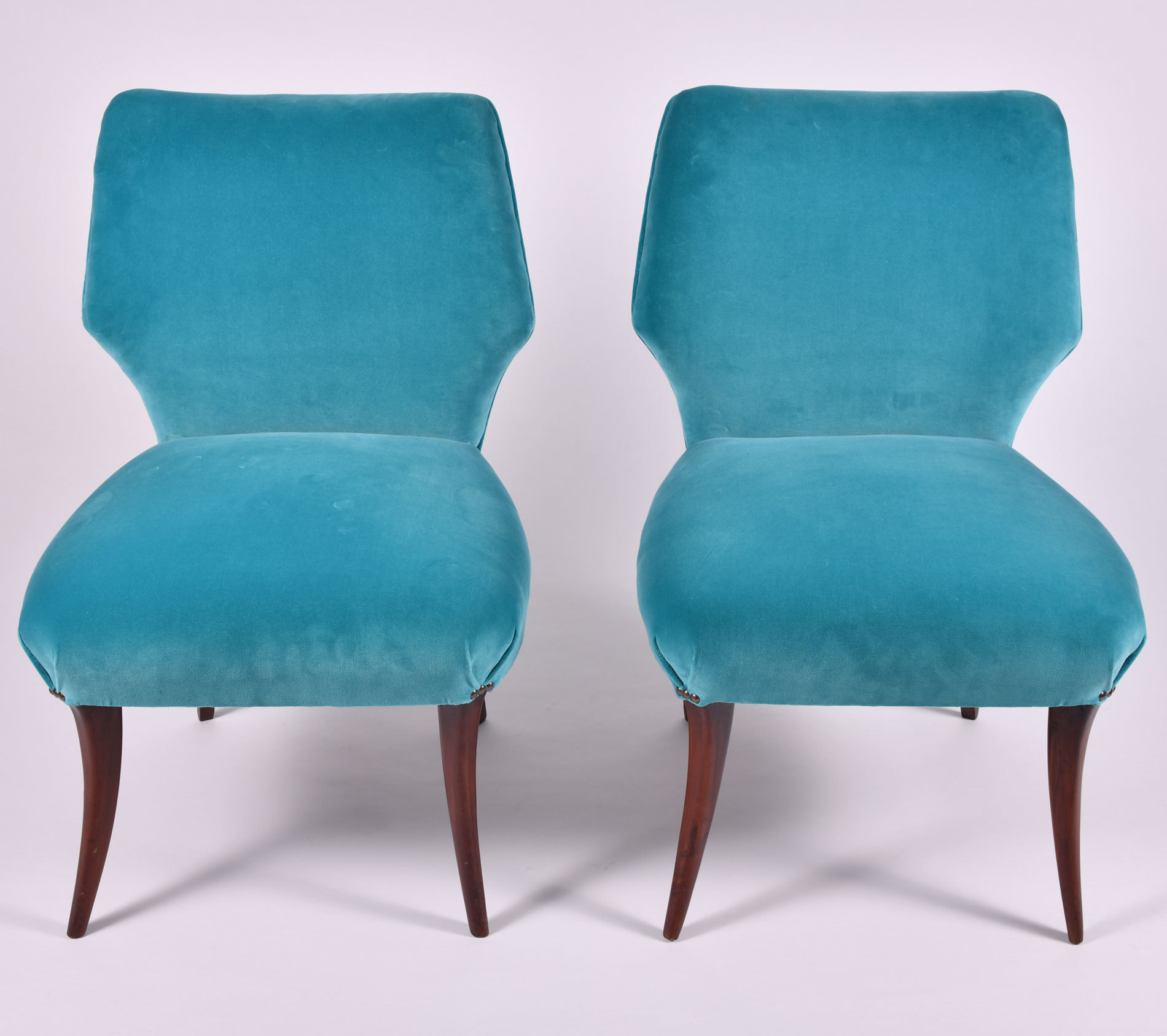 The image for Pair Turquoise Velvet Chairs 03