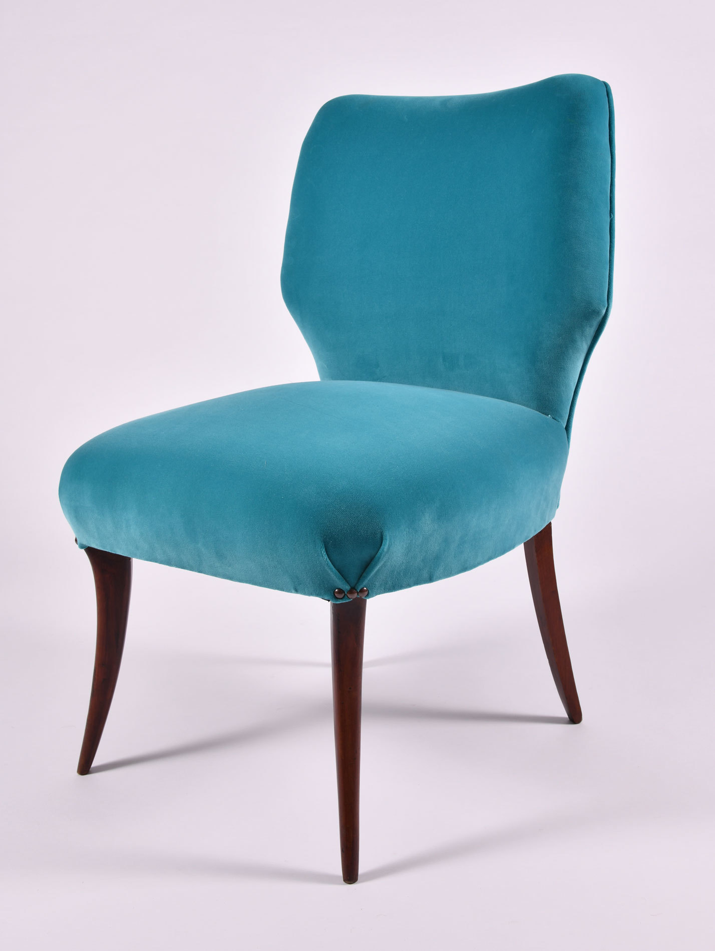 The image for Pair Turquoise Velvet Chairs 04