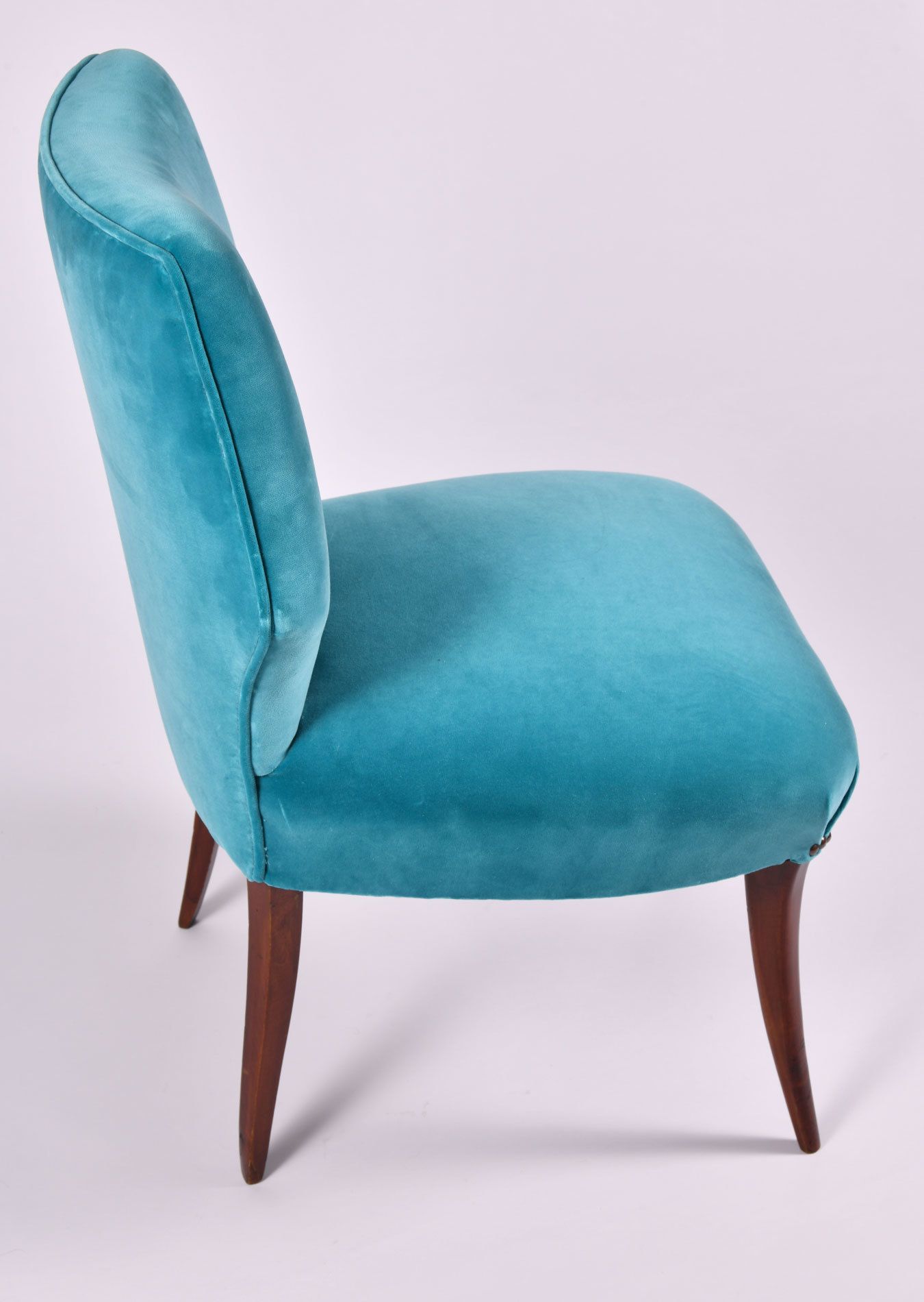 The image for Pair Turquoise Velvet Chairs 07