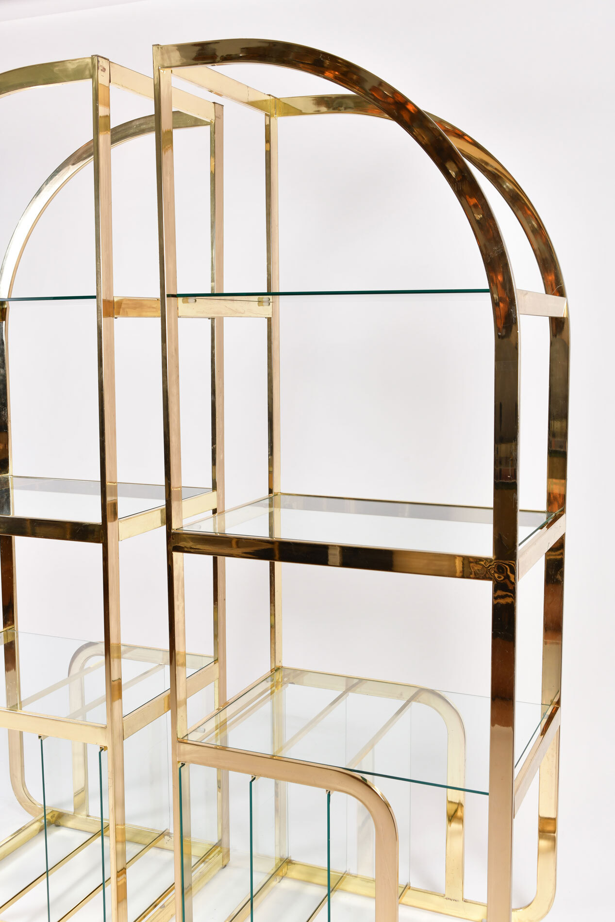 The image for Pair Us Brass Display Shelves 02