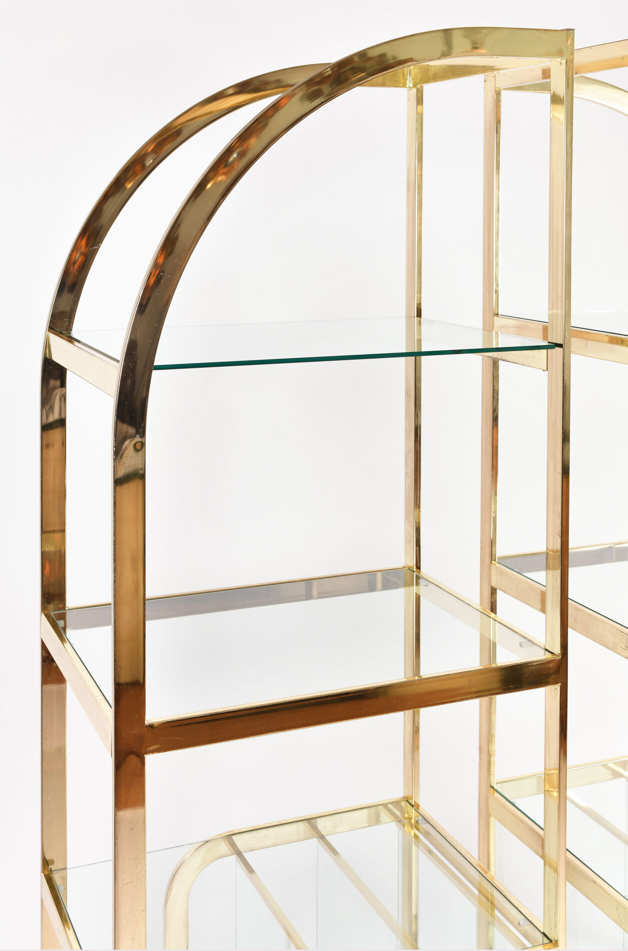 The image for Pair Us Brass Display Shelves 03