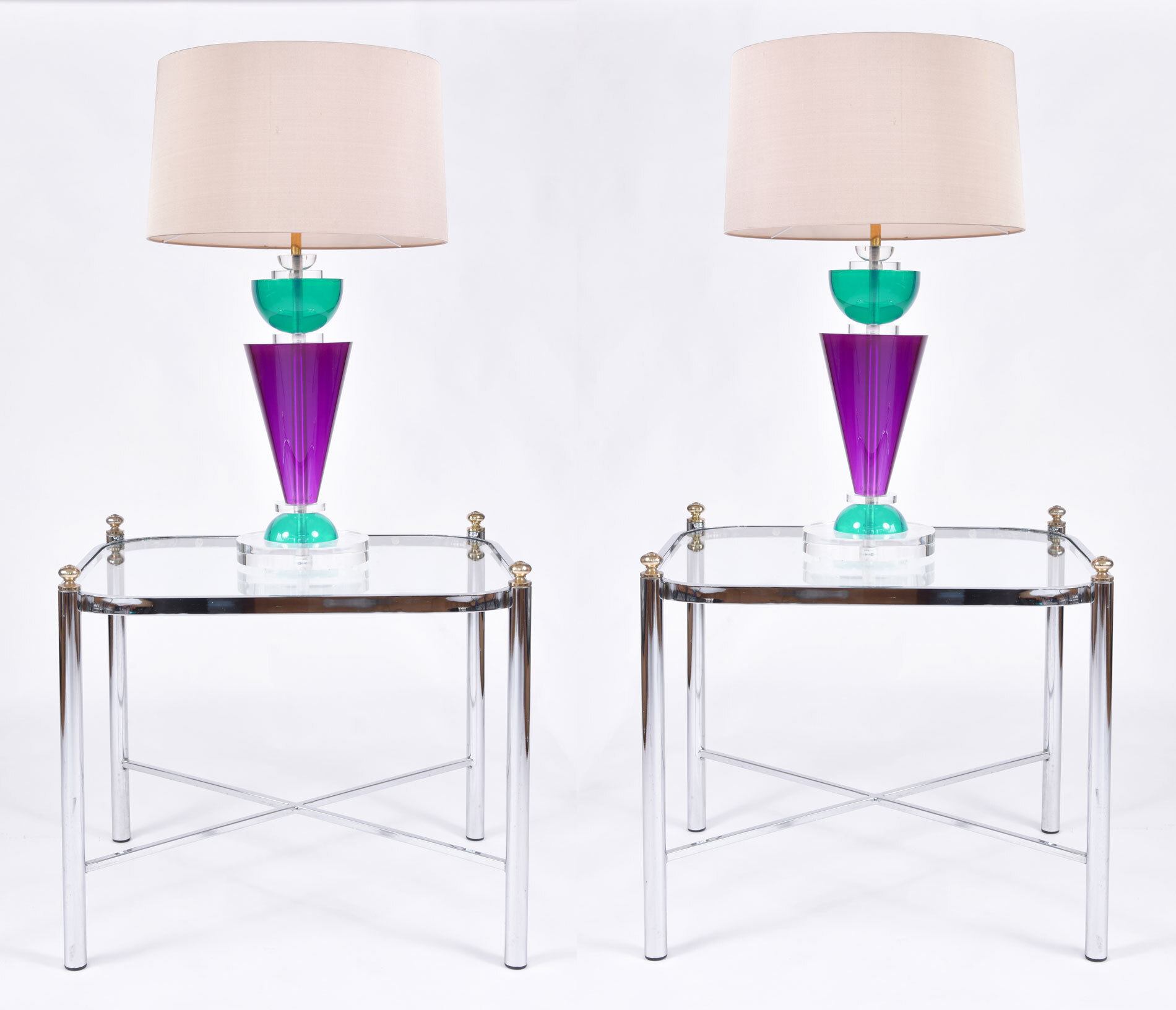 The image for Pair Van Teal Lamps 08