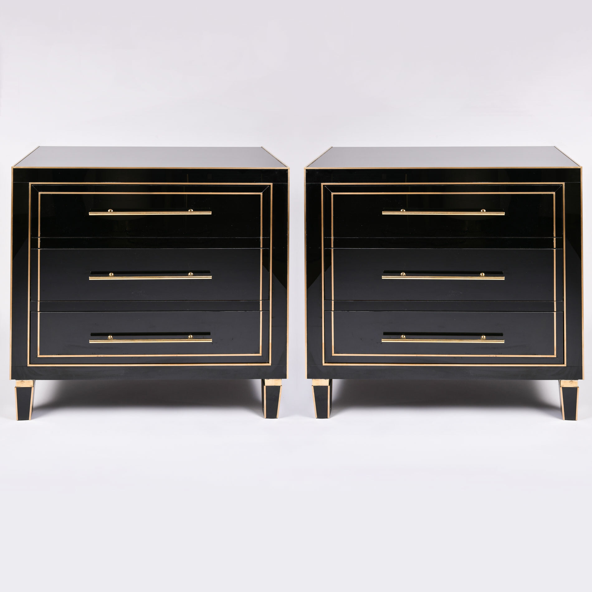 Pair Black Glass Cabinets 01