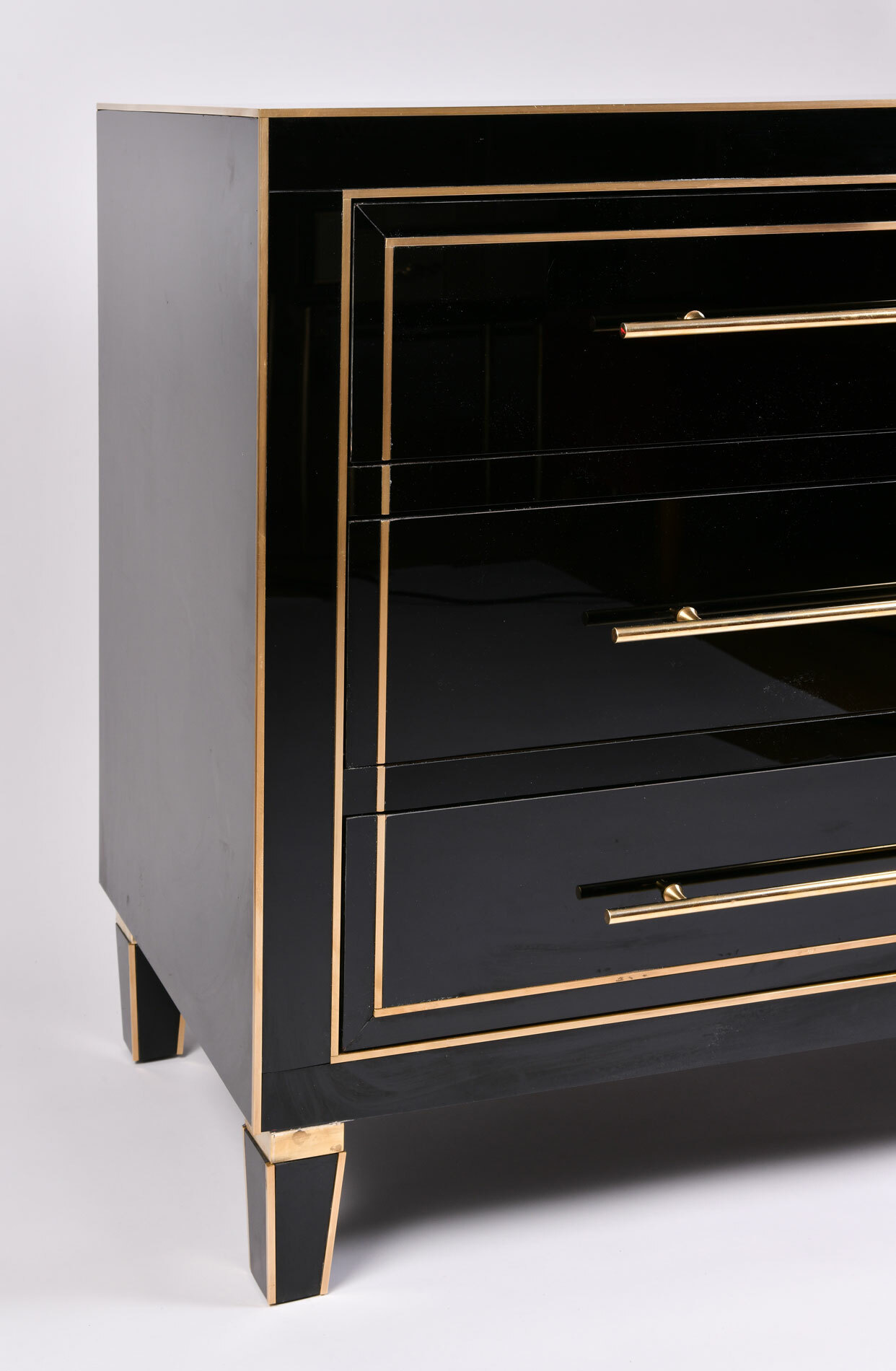 Pair Black Glass Cabinets 04