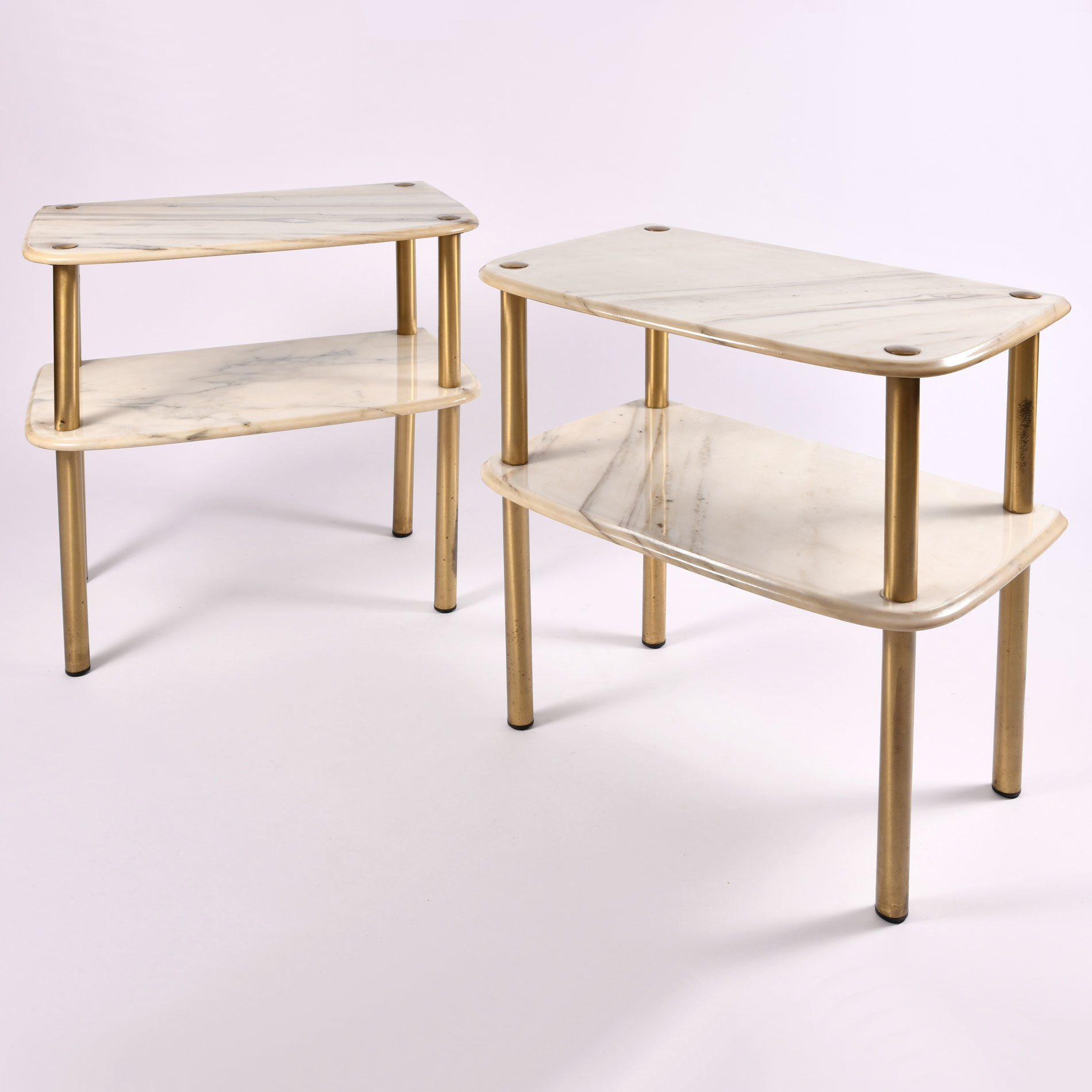 Pair Marble Topped Side Tables 01