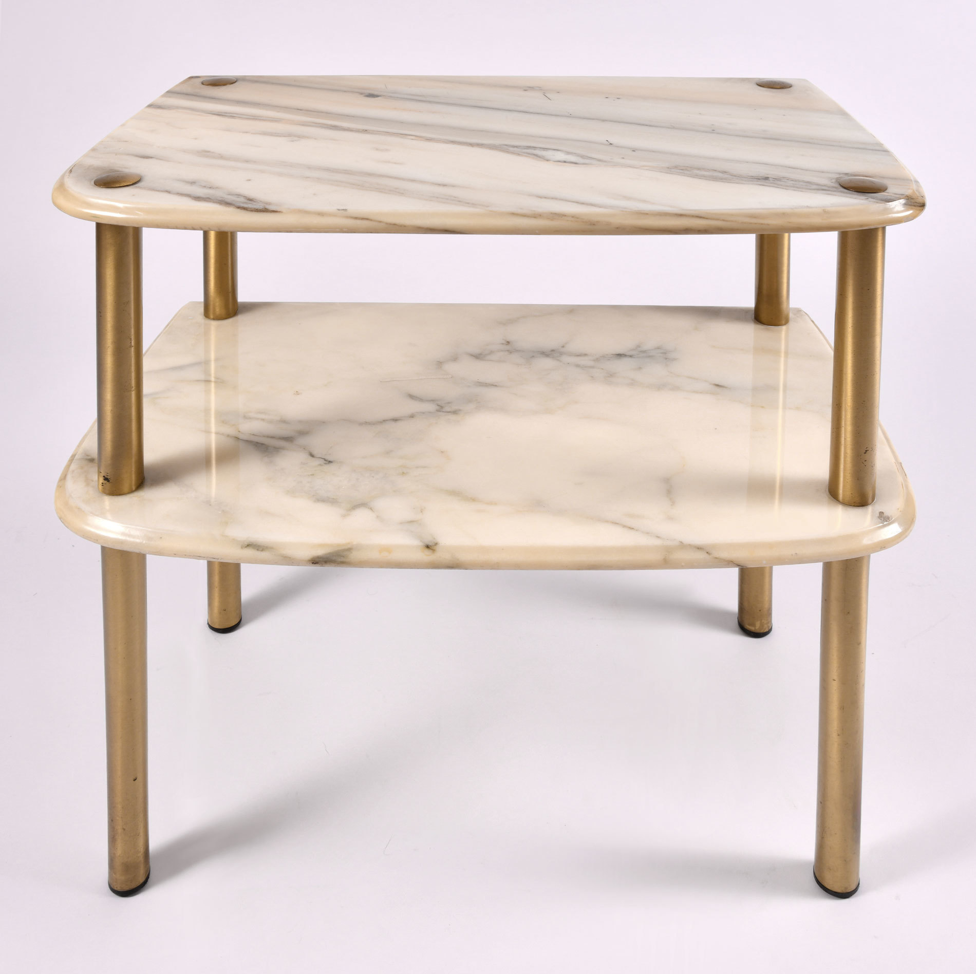 Pair Marble Topped Side Tables 04