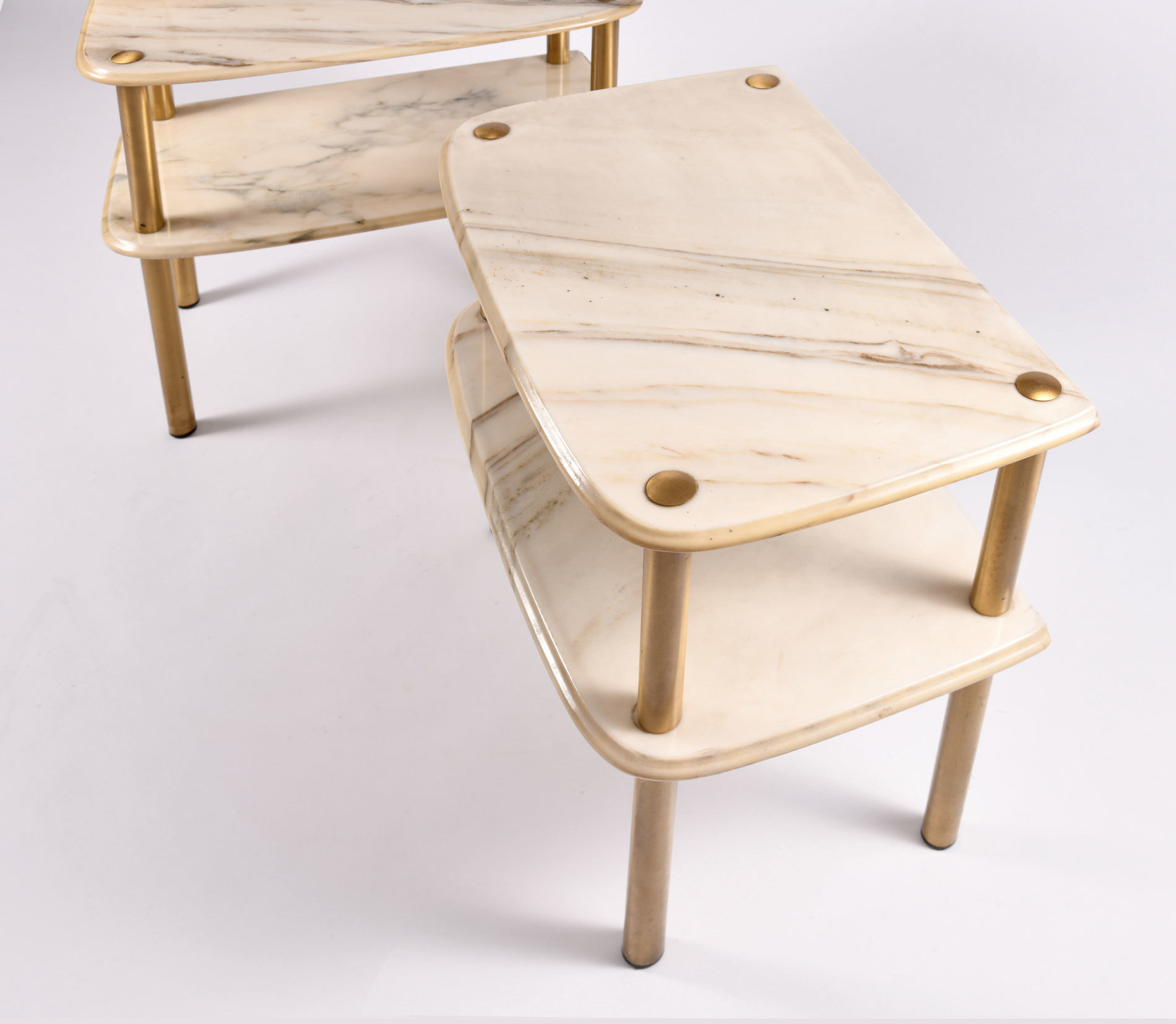The image for Pair Marble Topped Side Tables 05