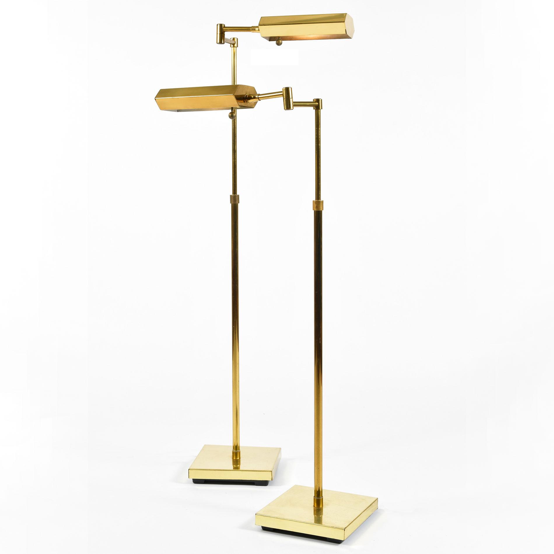 Pair Mid Century Brass Floor Lamps 01