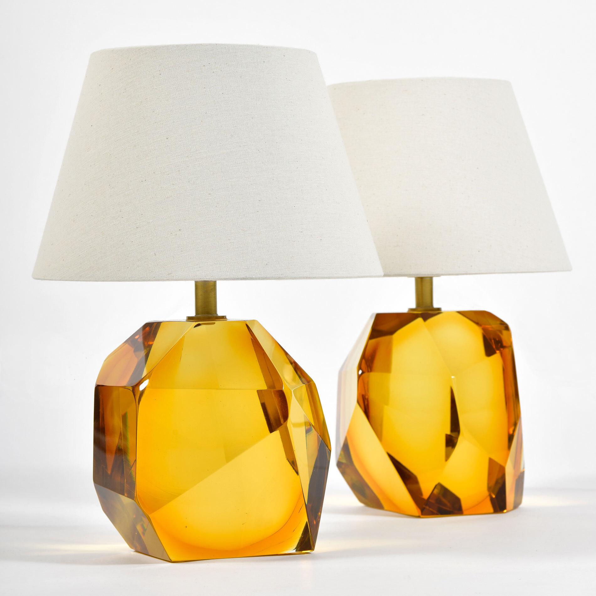 Pair Of Amber Rock Lamps 01