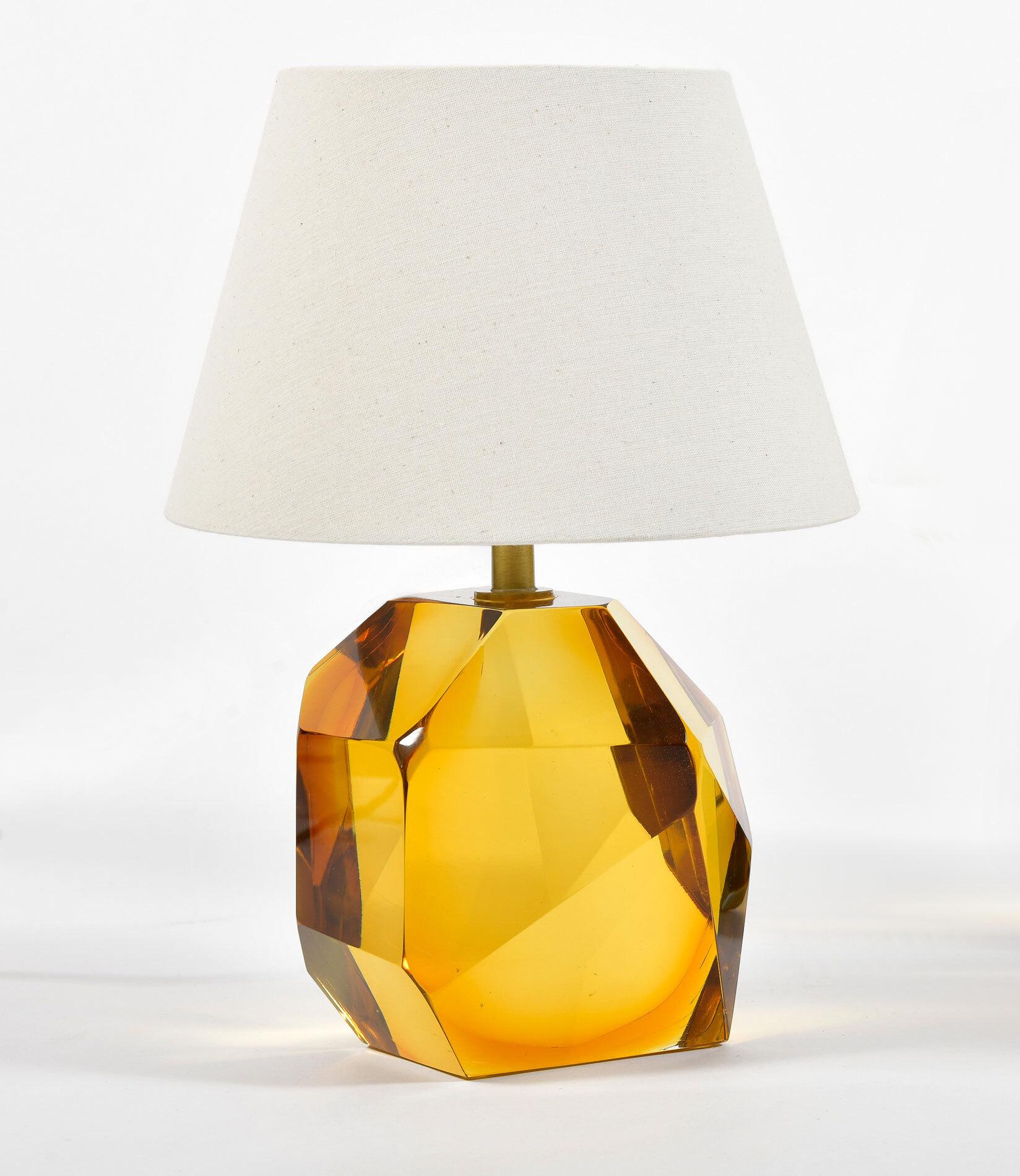 Pair Of Amber Rock Lamps 02