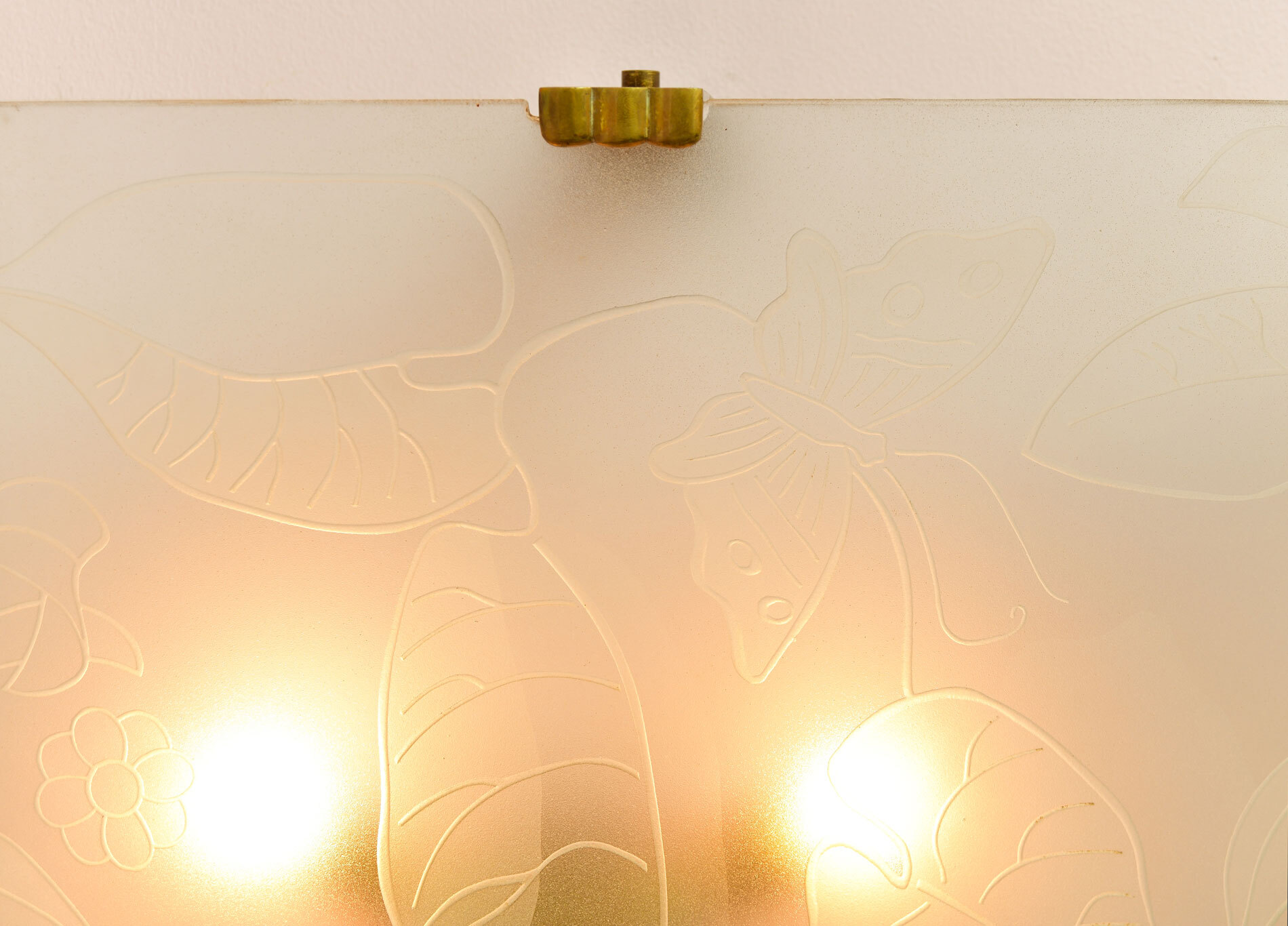 Pair Of Etched Glass Wall Lights 03