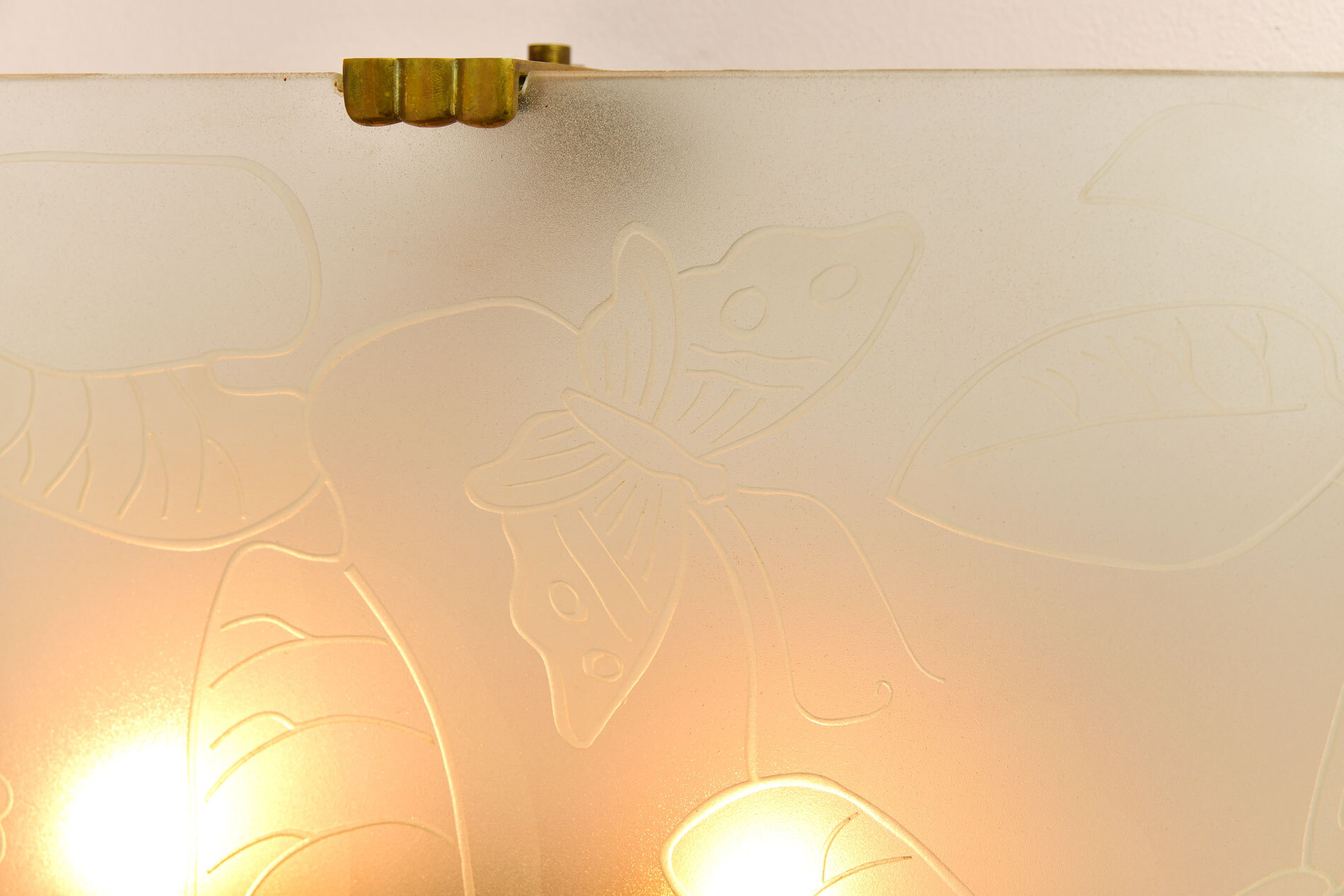Pair Of Etched Glass Wall Lights 04