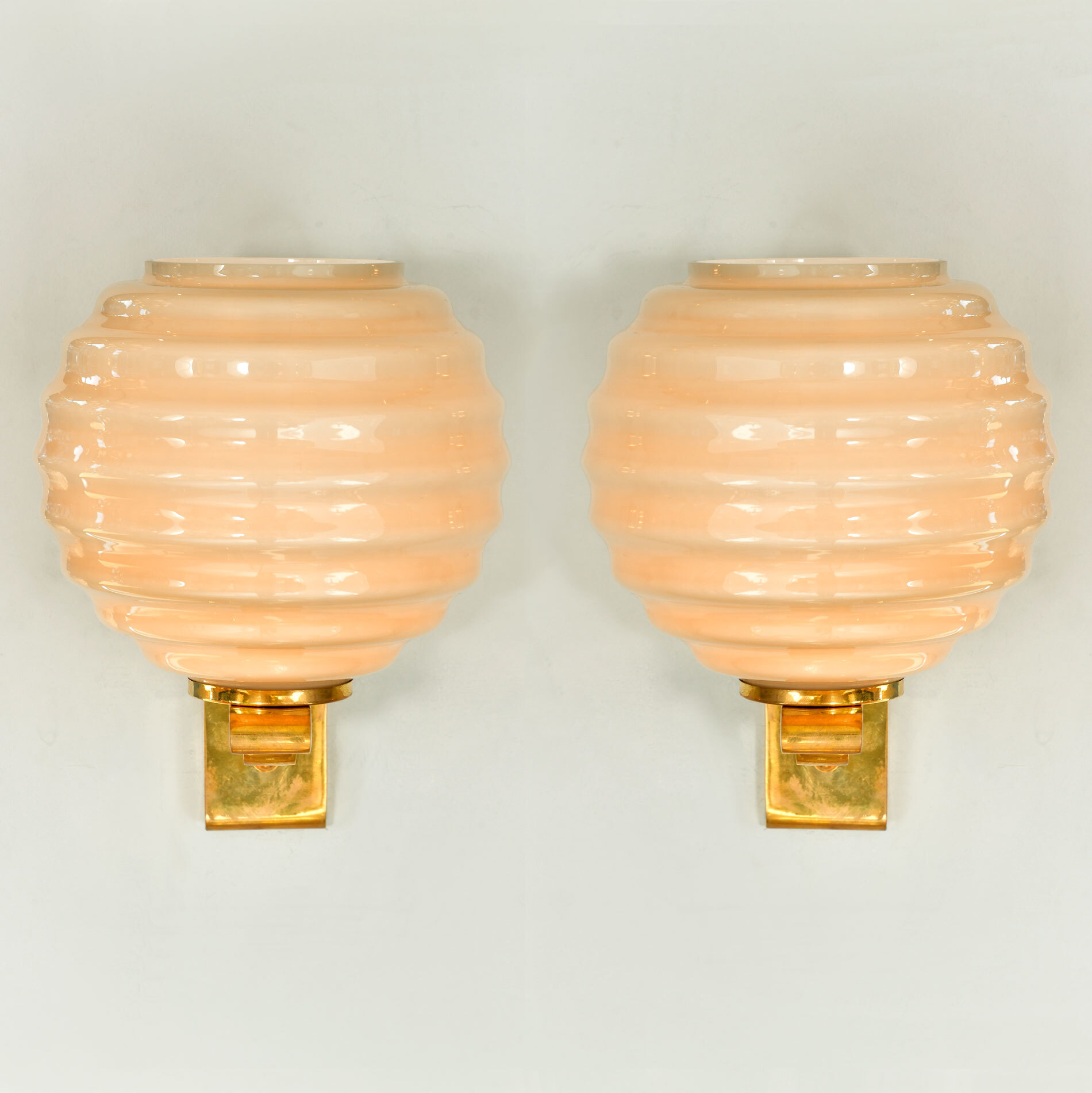 Pair Of Ribbed Globe Wall Lights 01