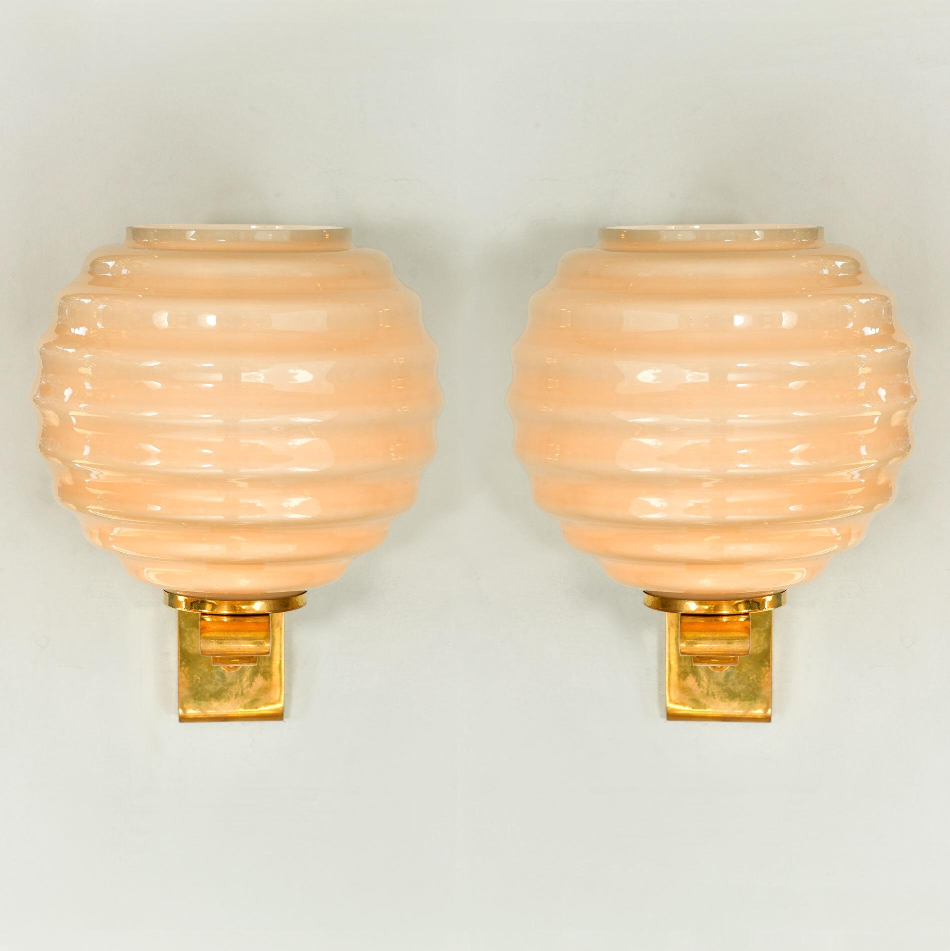 Pair Of Ribbed Globe Wall Lights 01