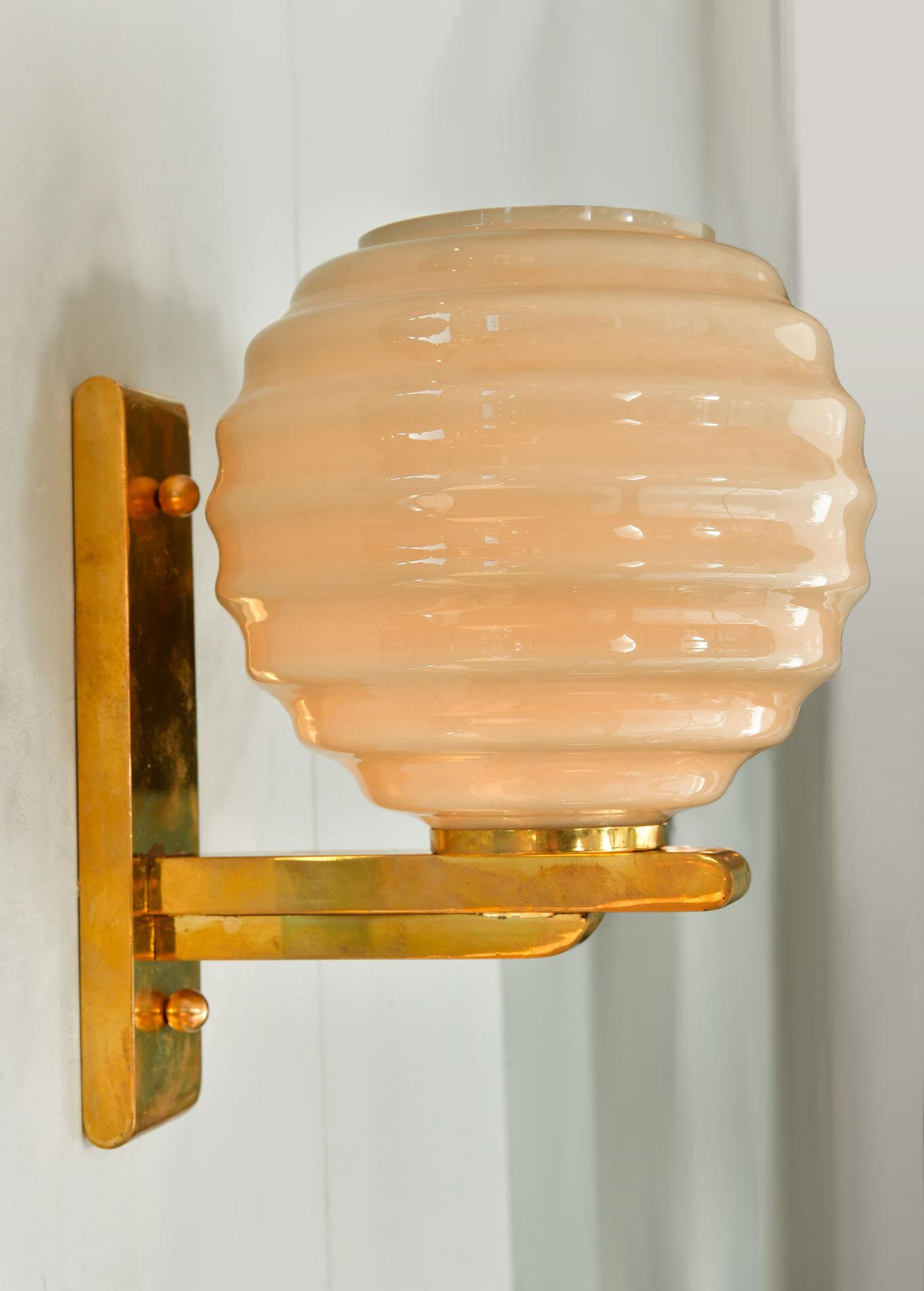 Pair Of Ribbed Globe Wall Lights 02