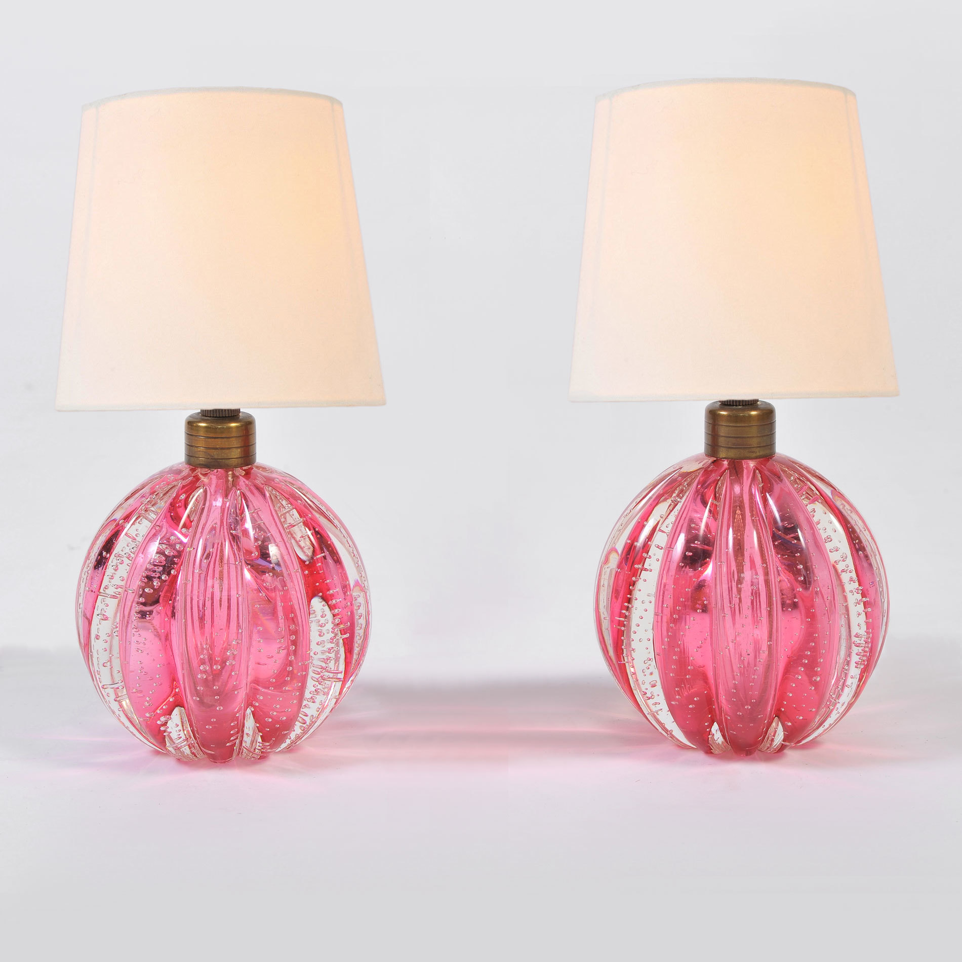 Pair Pink Murano Ball Lamps 01