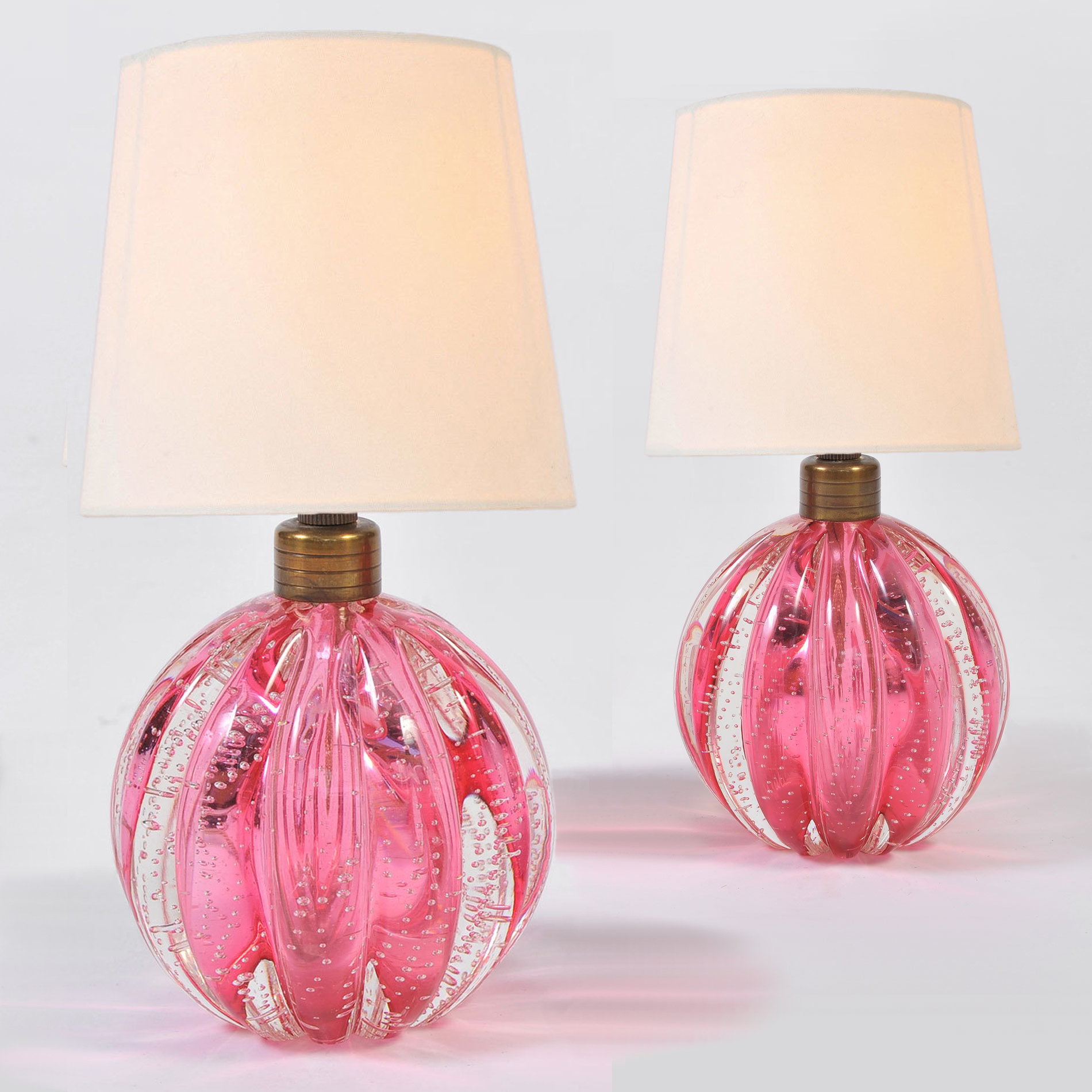 Pair Pink Murano Ball Lamps 01A