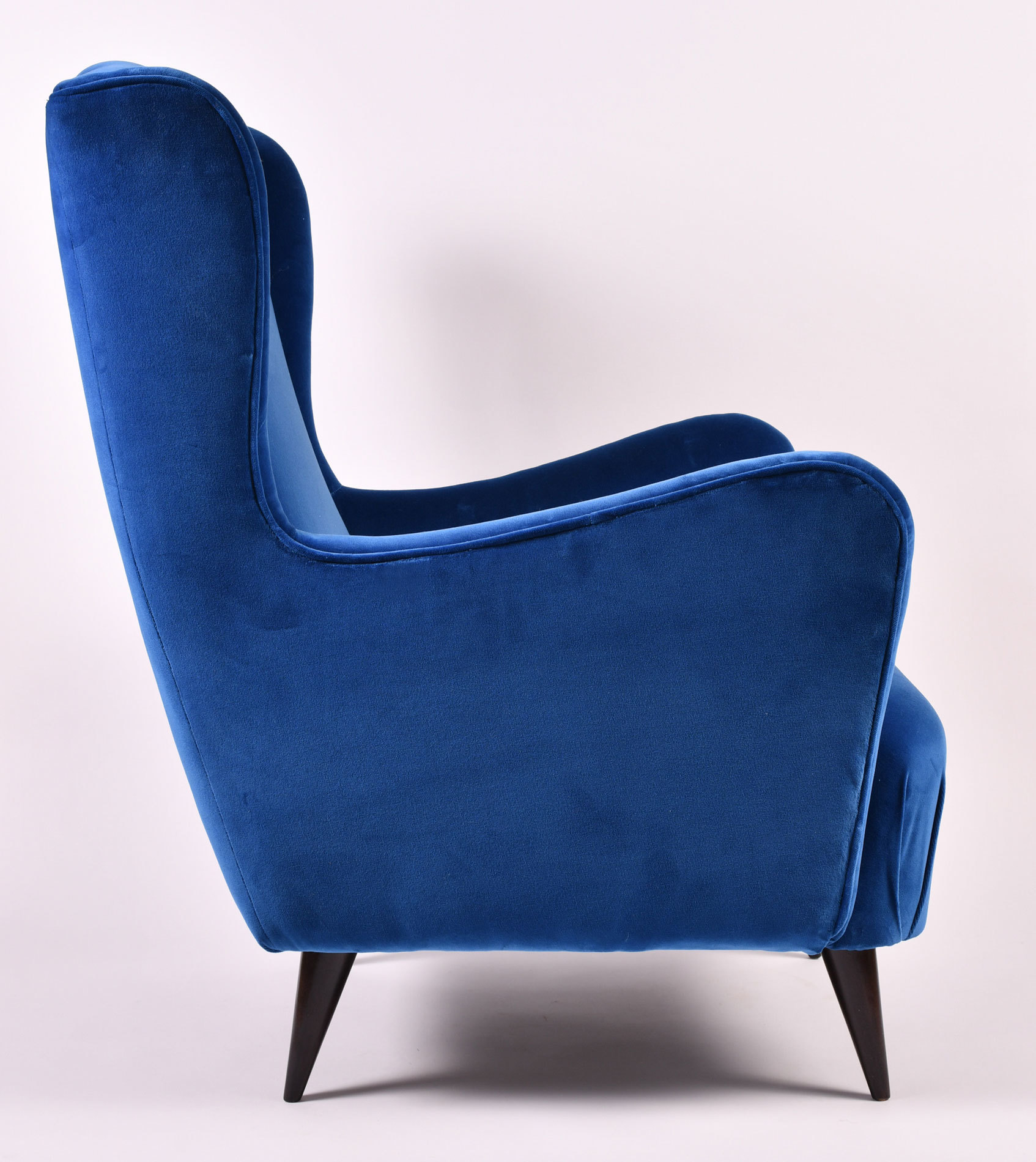 The image for Paolo Buffa Blue Velvet Armchair 03