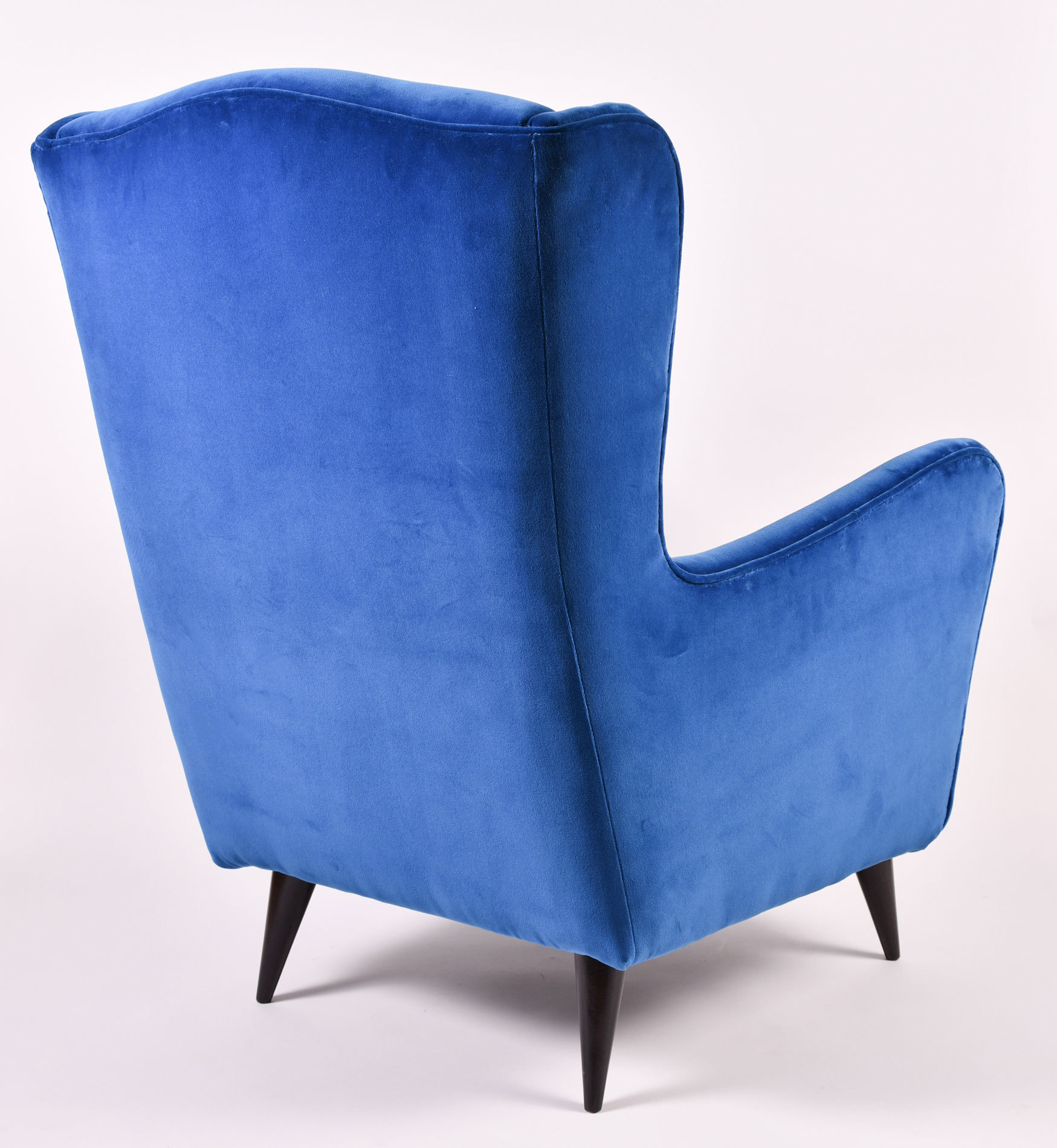 The image for Paolo Buffa Blue Velvet Armchair 04