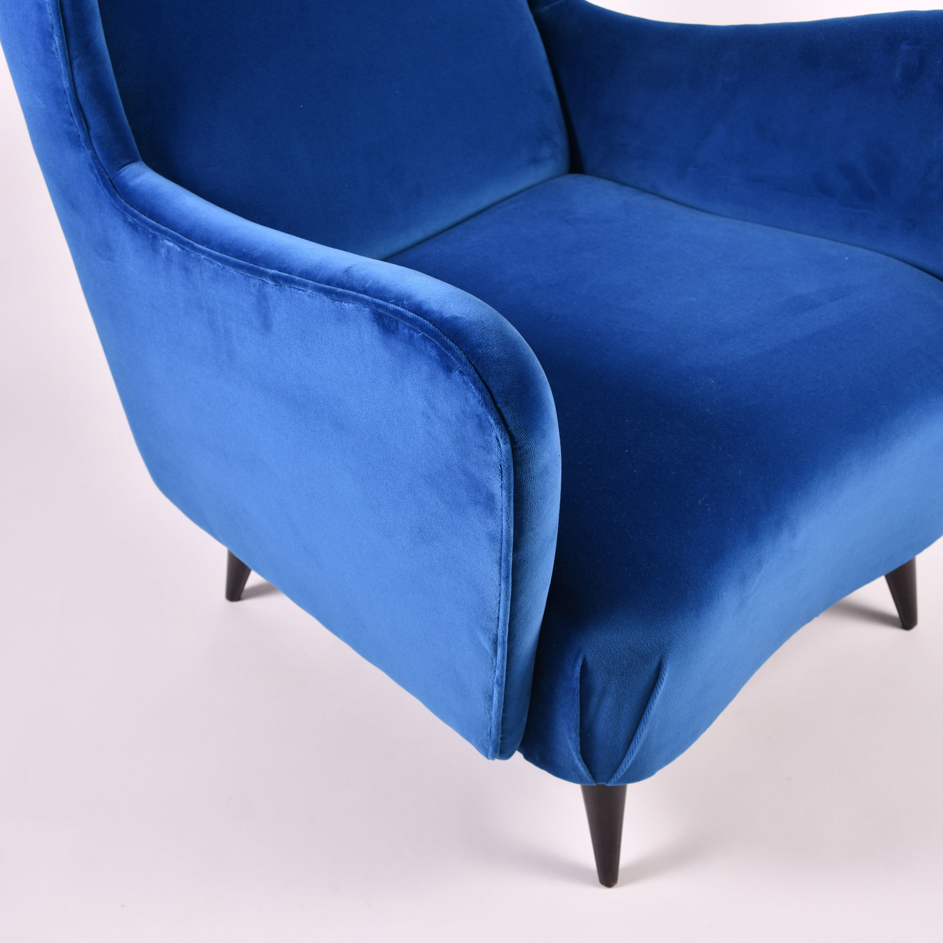 The image for Paolo Buffa Blue Velvet Armchair 06