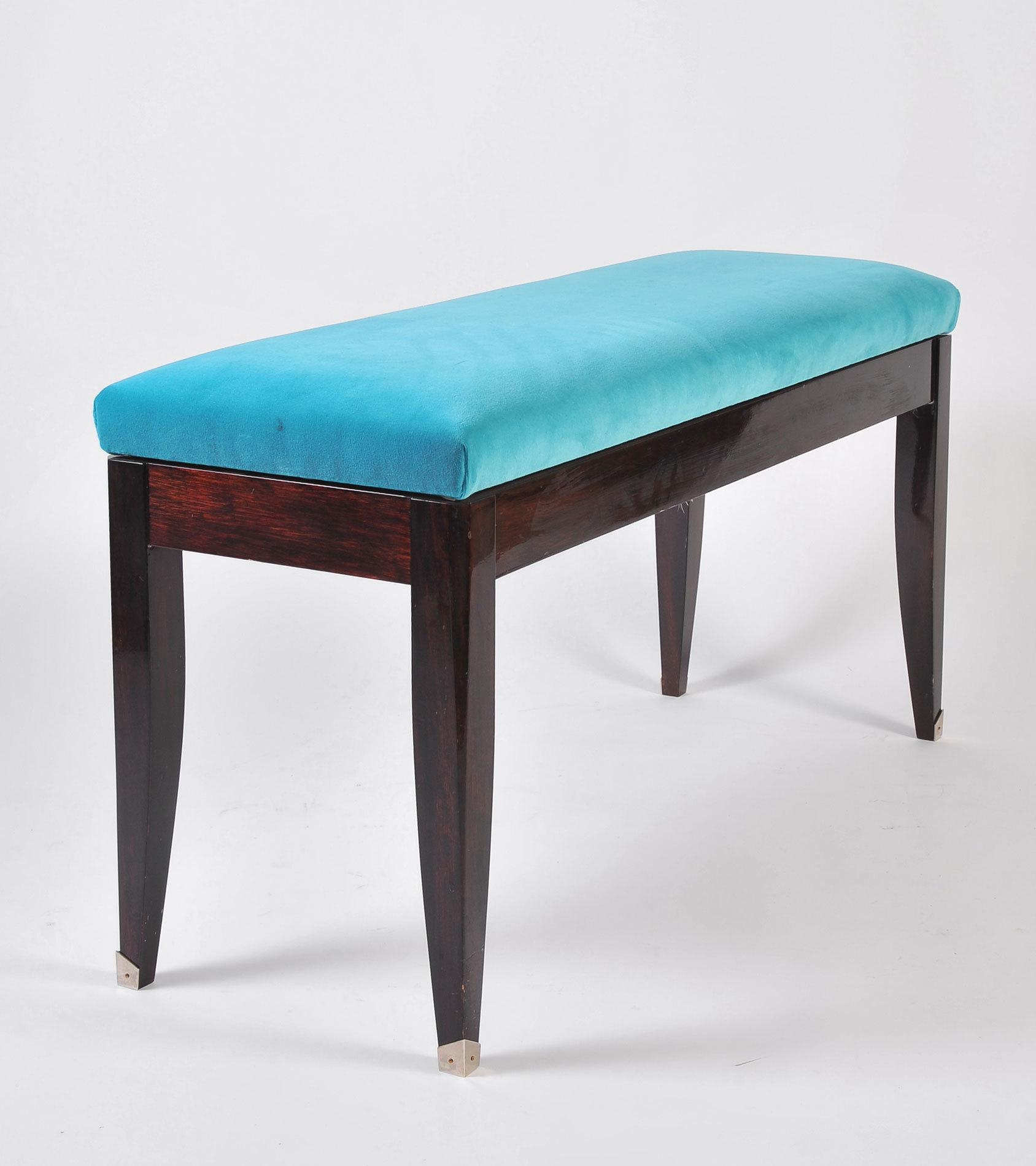 Turquoise Velvet Stool 02