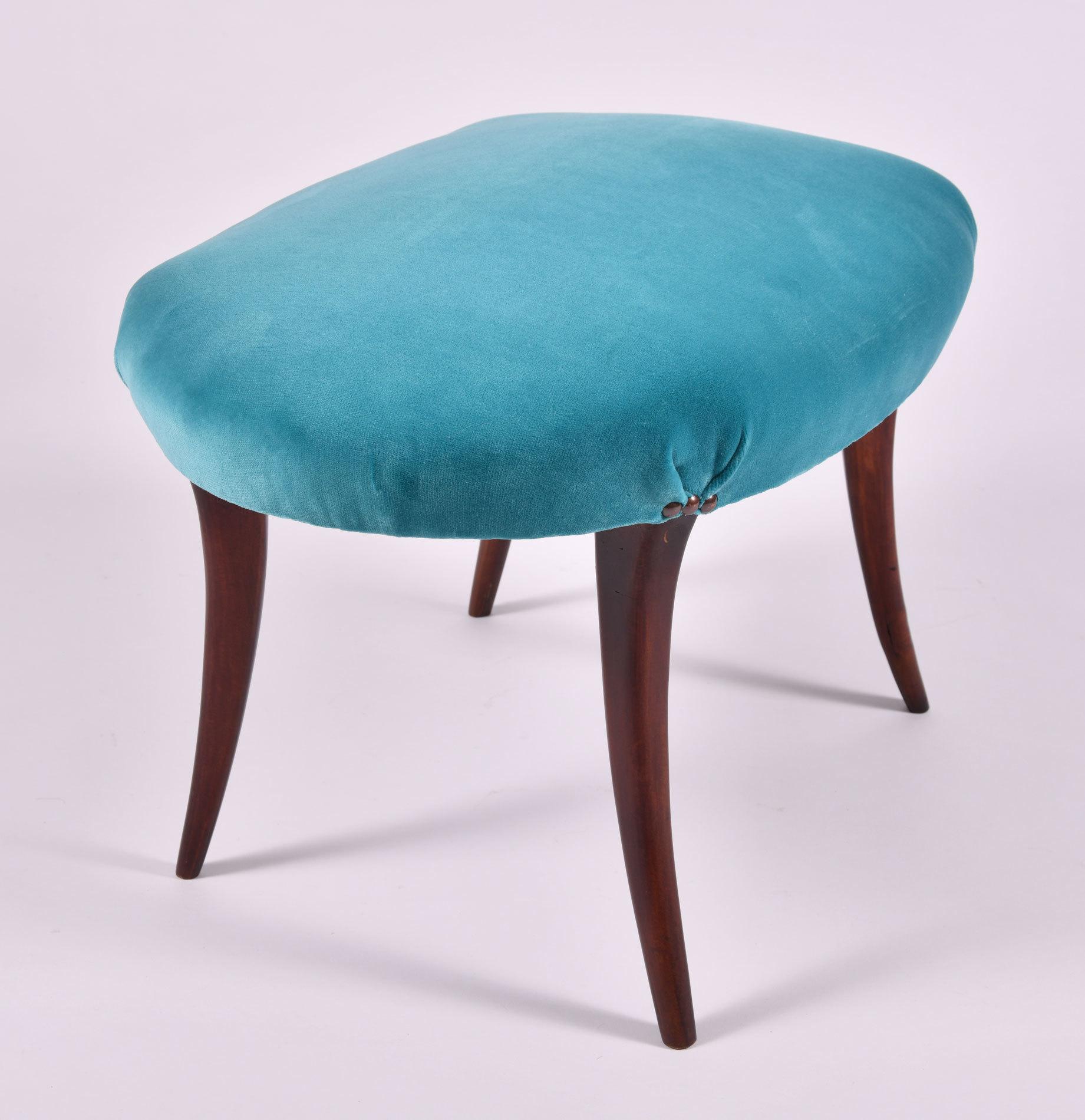 Turquoise Velvet Stool 03