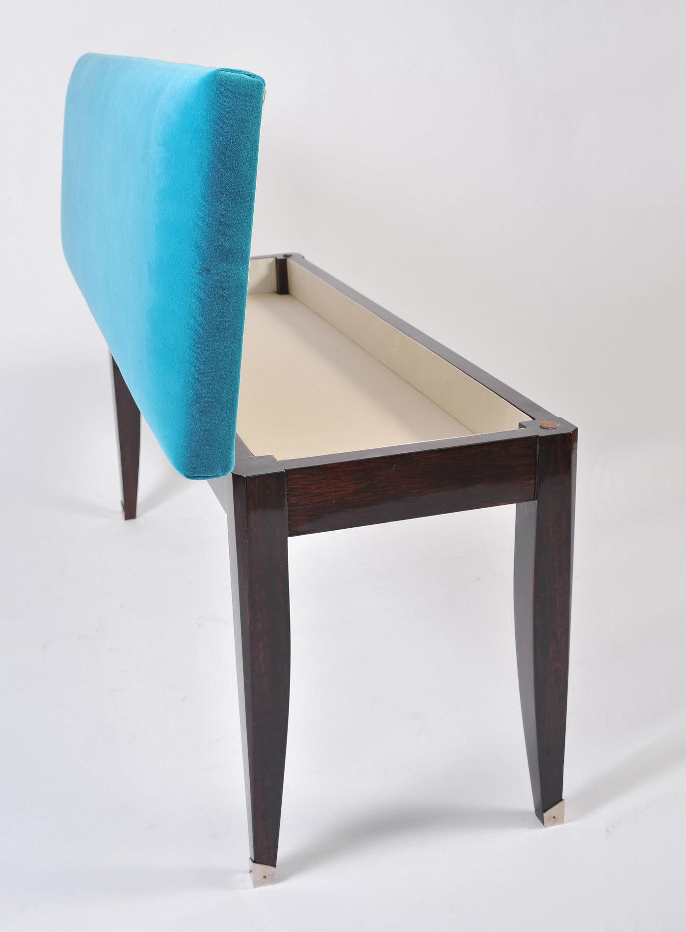Turquoise Velvet Stool 04