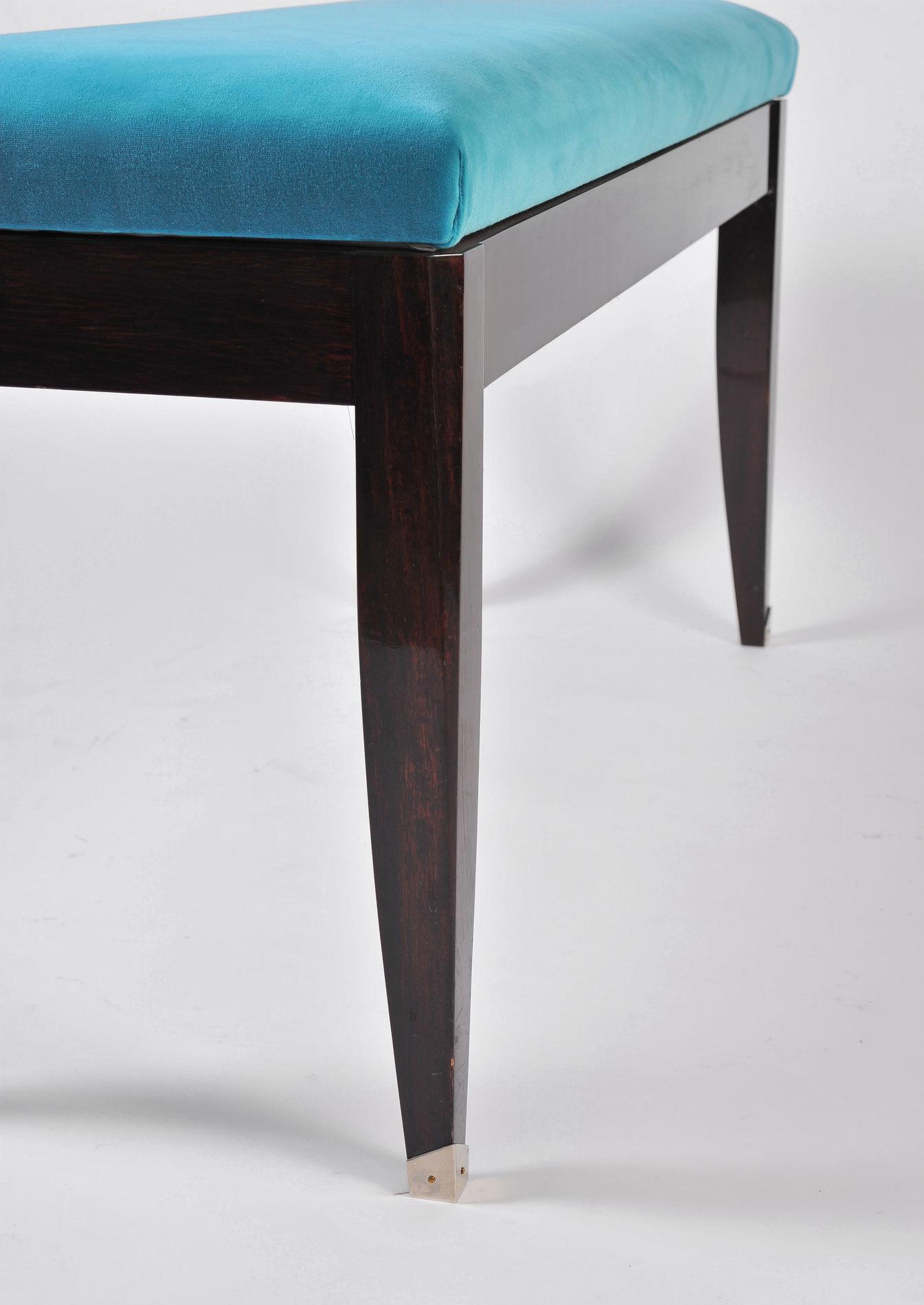Turquoise Velvet Stool 05