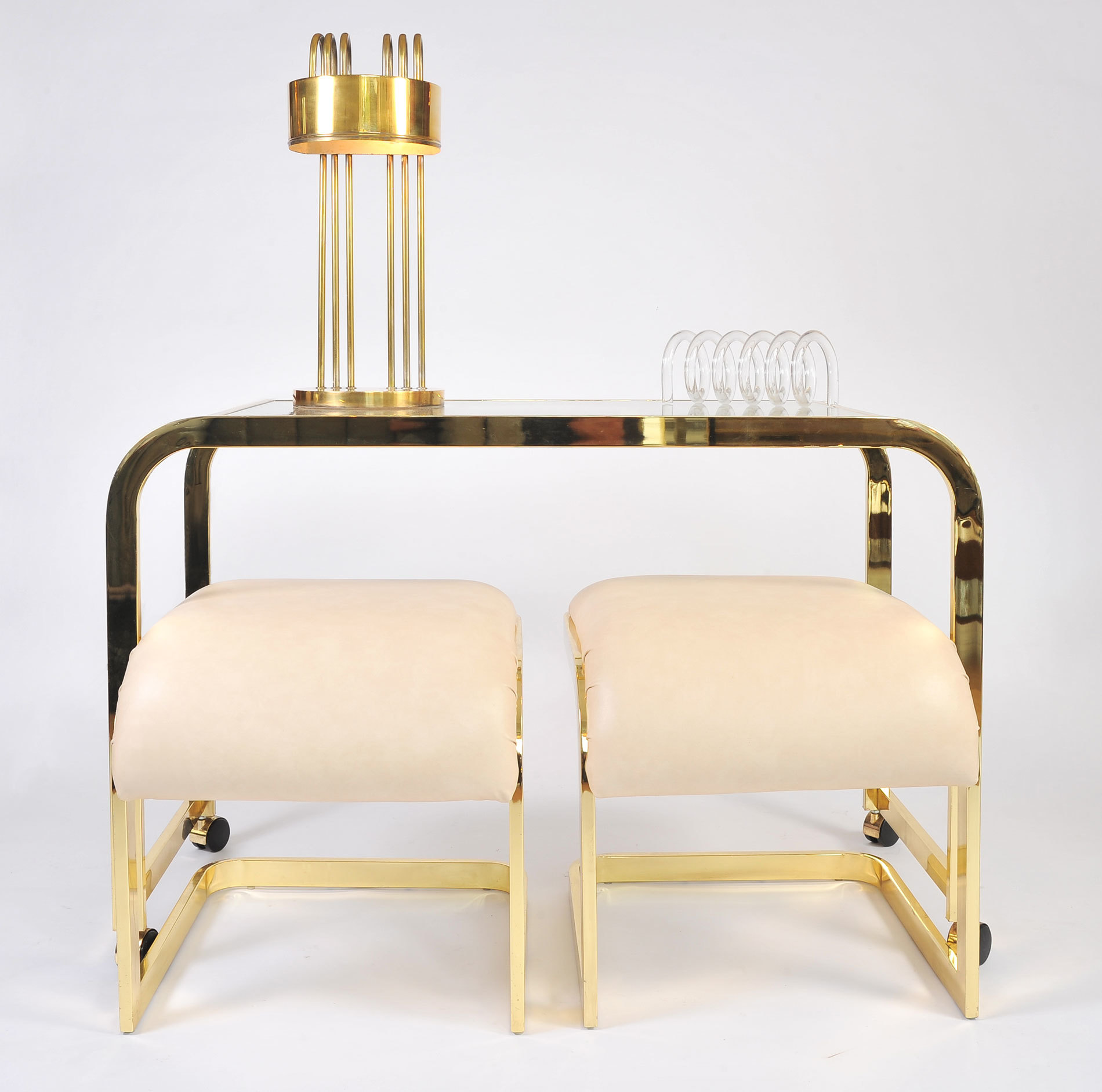 Us Brass Desk And Stools 02