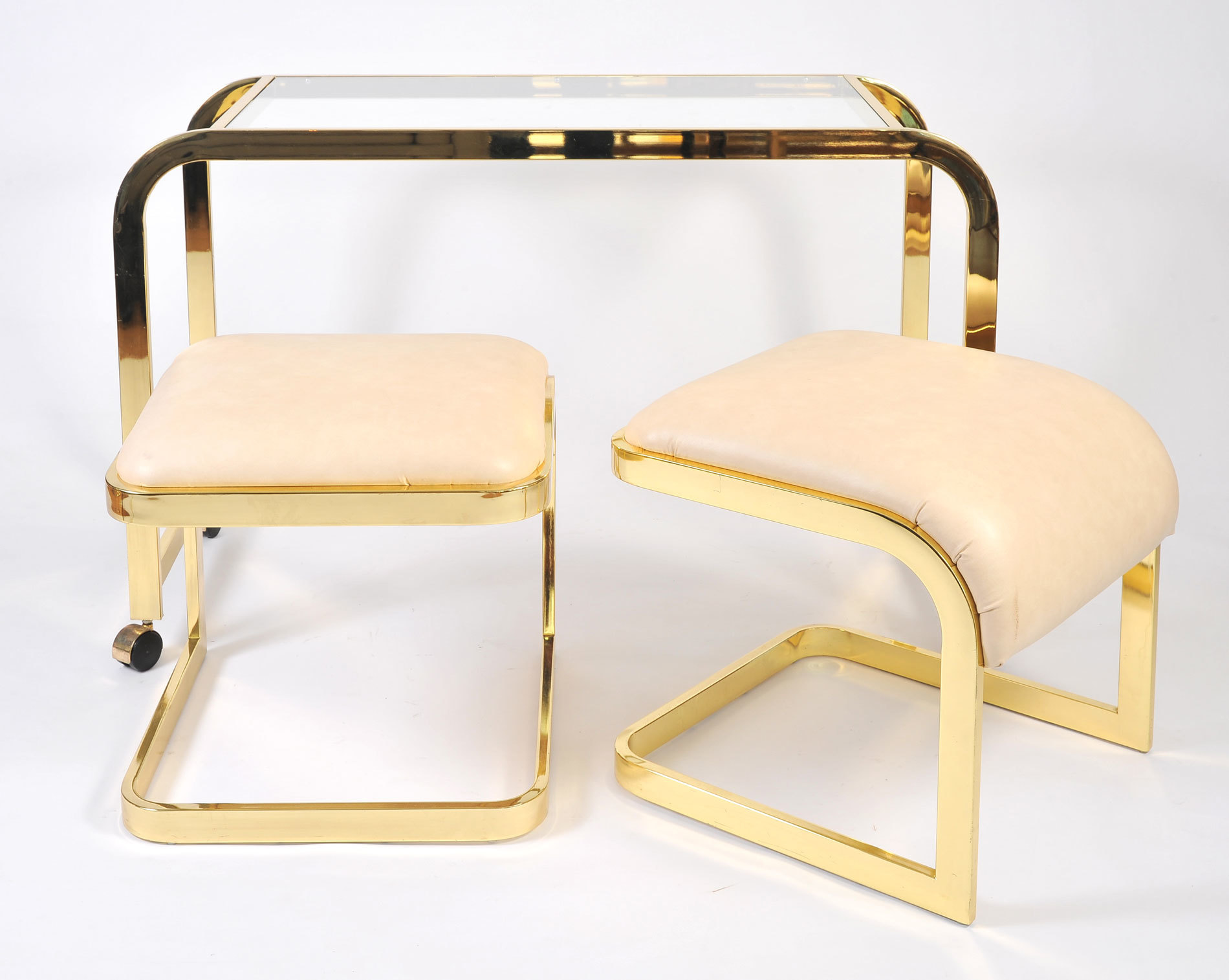 Us Brass Desk And Stools 03