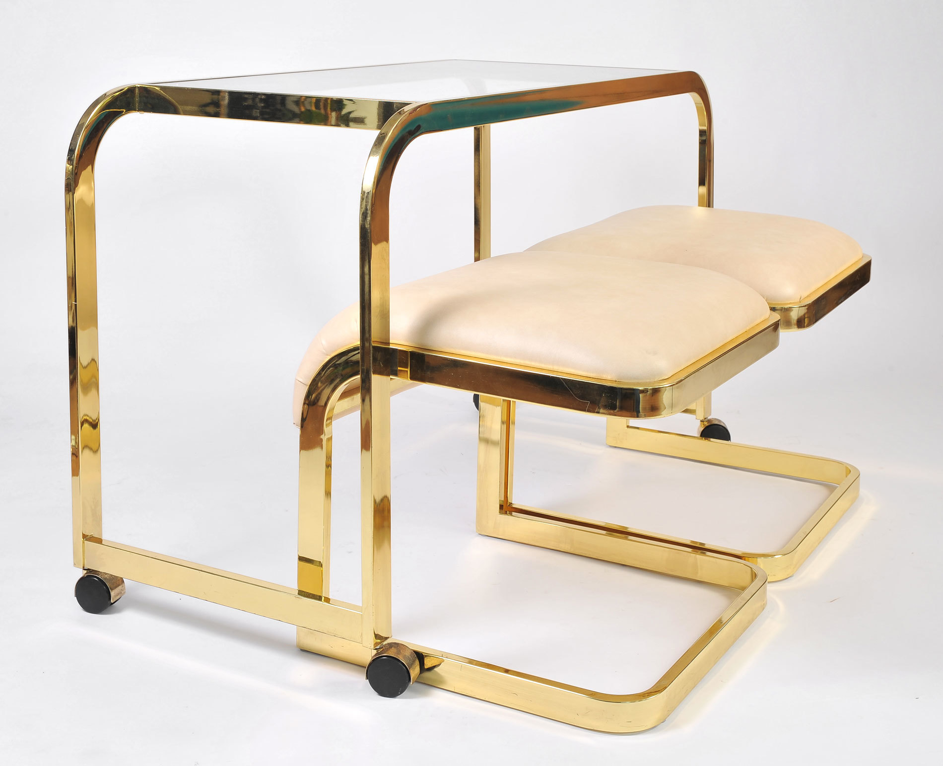 Us Brass Desk And Stools 04