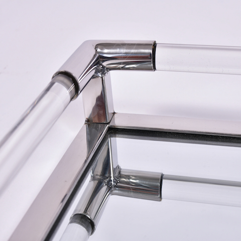 The image for Us Chrome Lucite Rectangular Tray 3