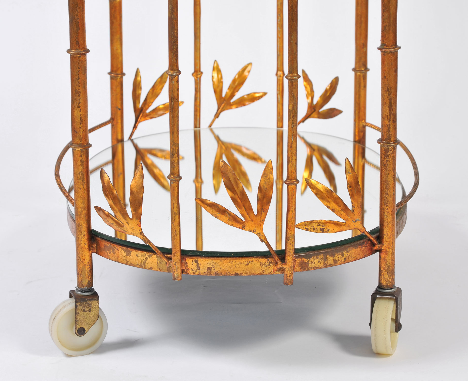 Us Gilded Bamboo Leaves Trolley 05