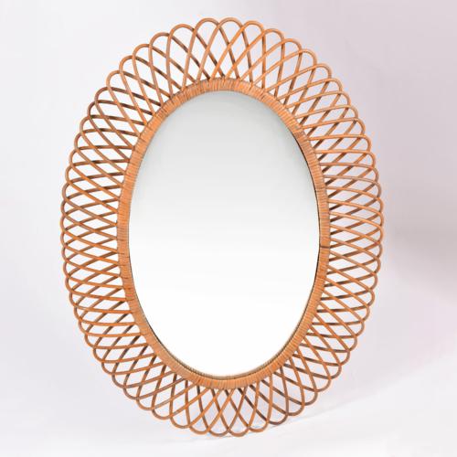 Albini Wicker Oval Mirror 01