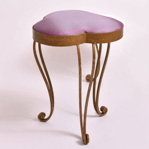 Brass Stool Purple Velvet 01