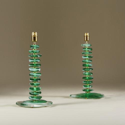 Green Glass Pebble Lamp 0036 V1