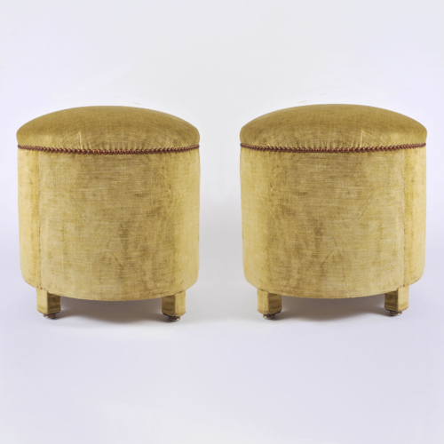 Green Yellow Upholstered Stools 01A