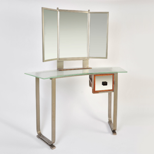 Italian Glass Chrome Dressing Table 01
