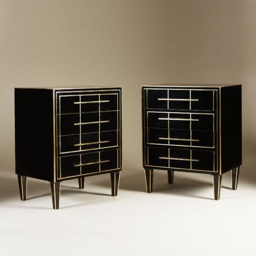 Italian Black Glass Bedsides 0142