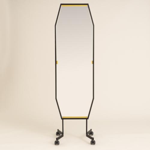 Italian Black Octagonal Floor Mirror 0302