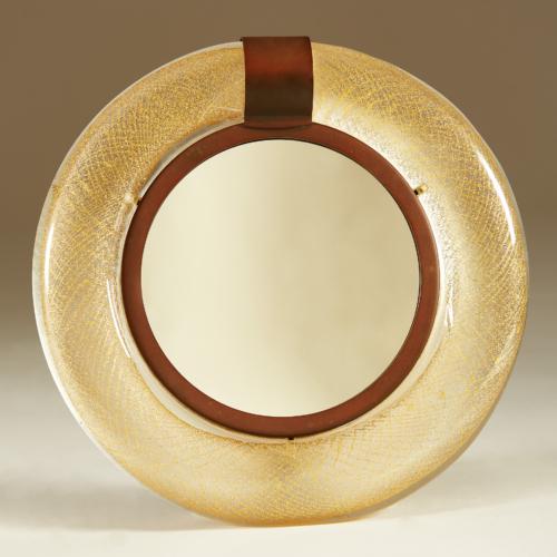 Murano Circular Gold Flecked Mirror 0013 V1
