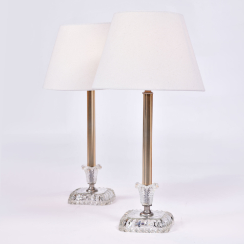 Pair 1950S Us Glass Lamps 01