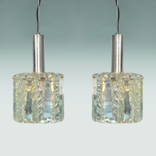 Pair 1970S Glass Pendants 01