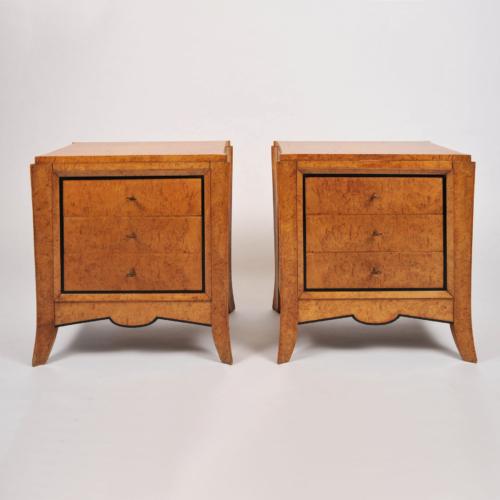 Pair Burr Walnut Bedside Tables 001 Vw